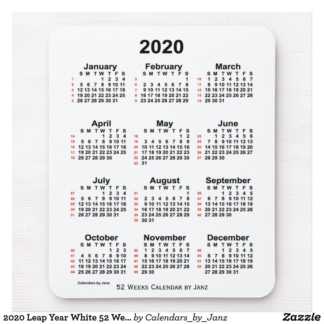 2020 Leap Year White 52 Week Calendarjanz Mouse Pad