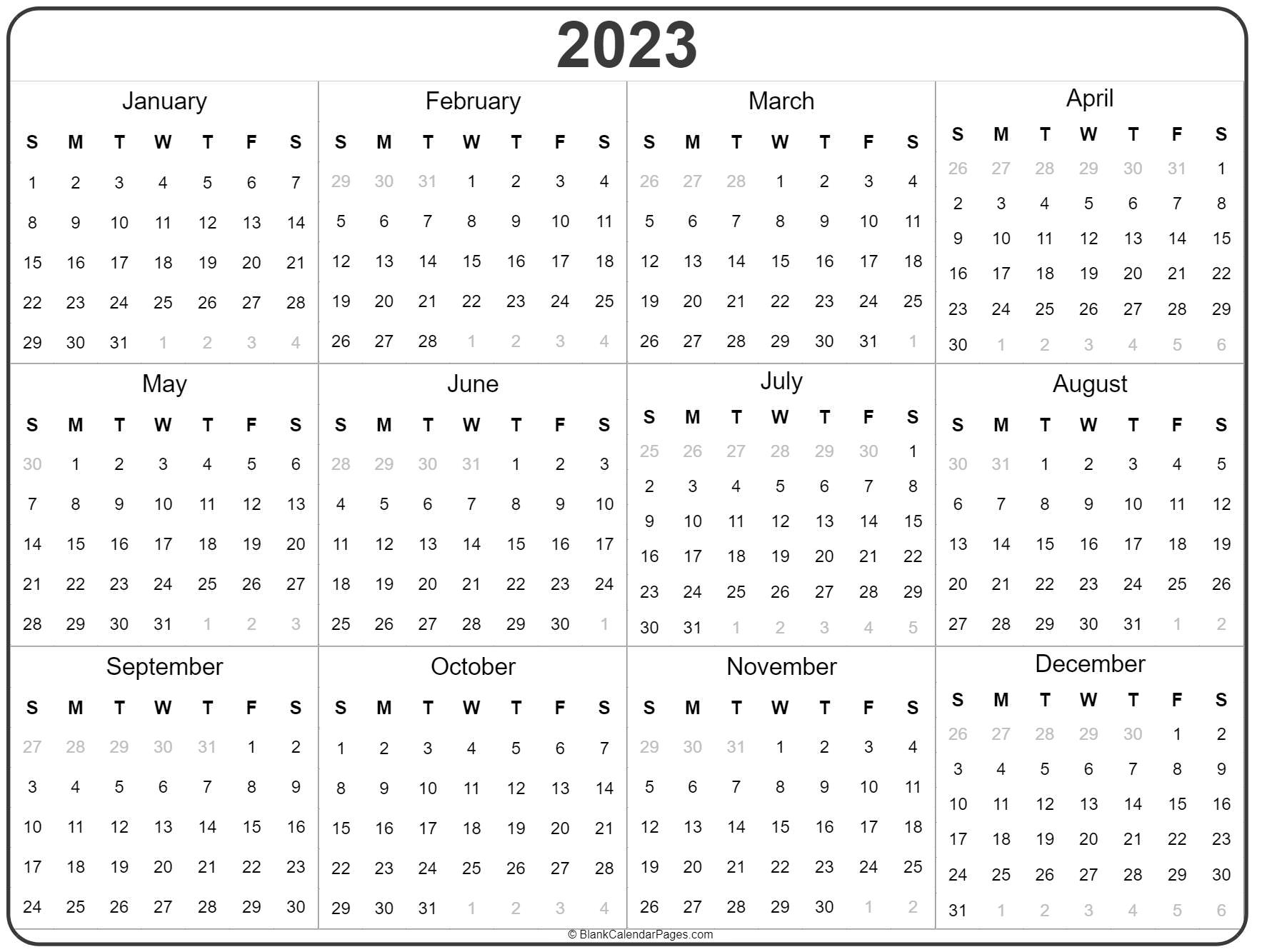 2023 Year Calendar | Yearly Printable
