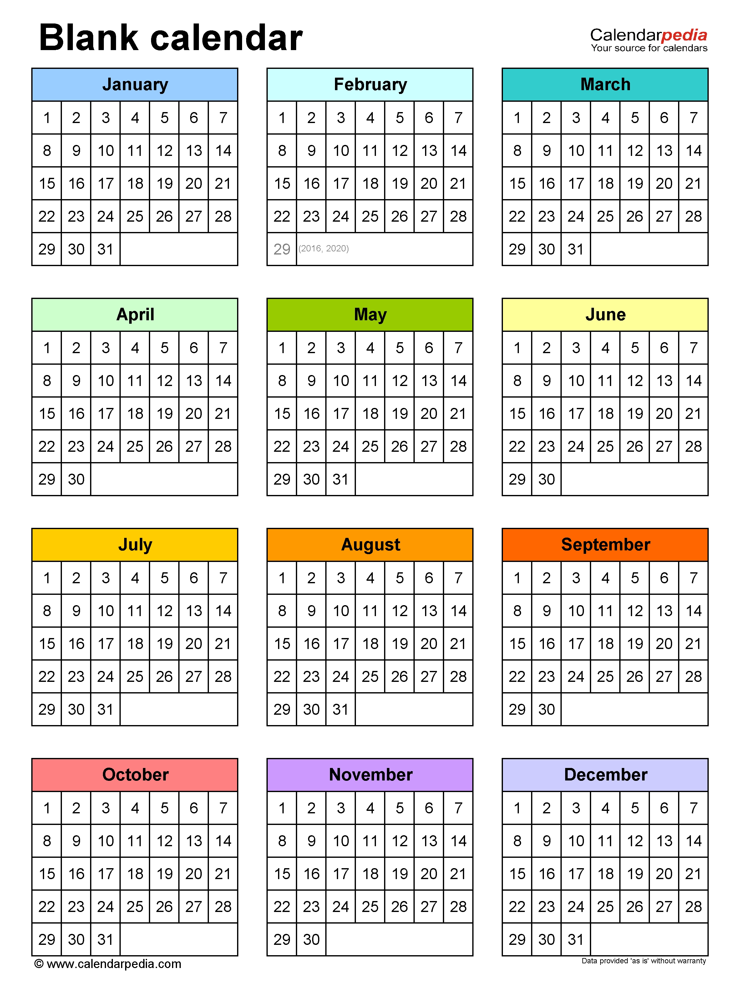 Blank Calendars - Free Printable Microsoft Word Templates