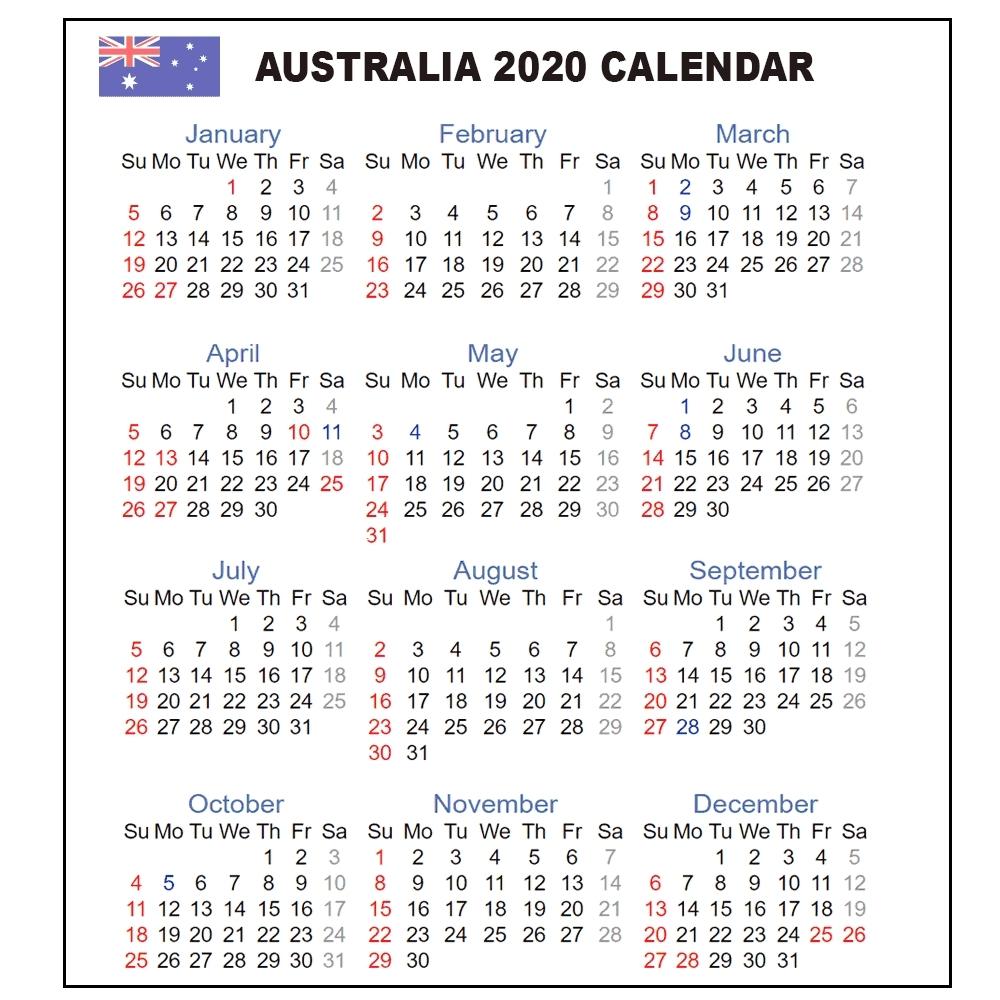 Calendar 2020 Australia | Australia 2020 Yearly Printable