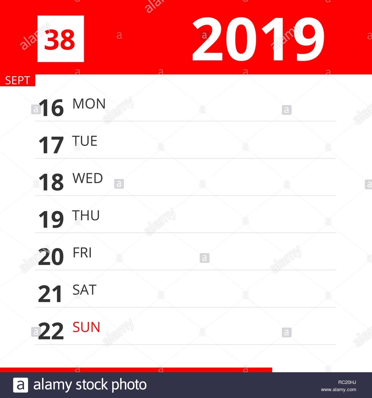 Calendar Planner For Week 38 In 2019, Ends September 22