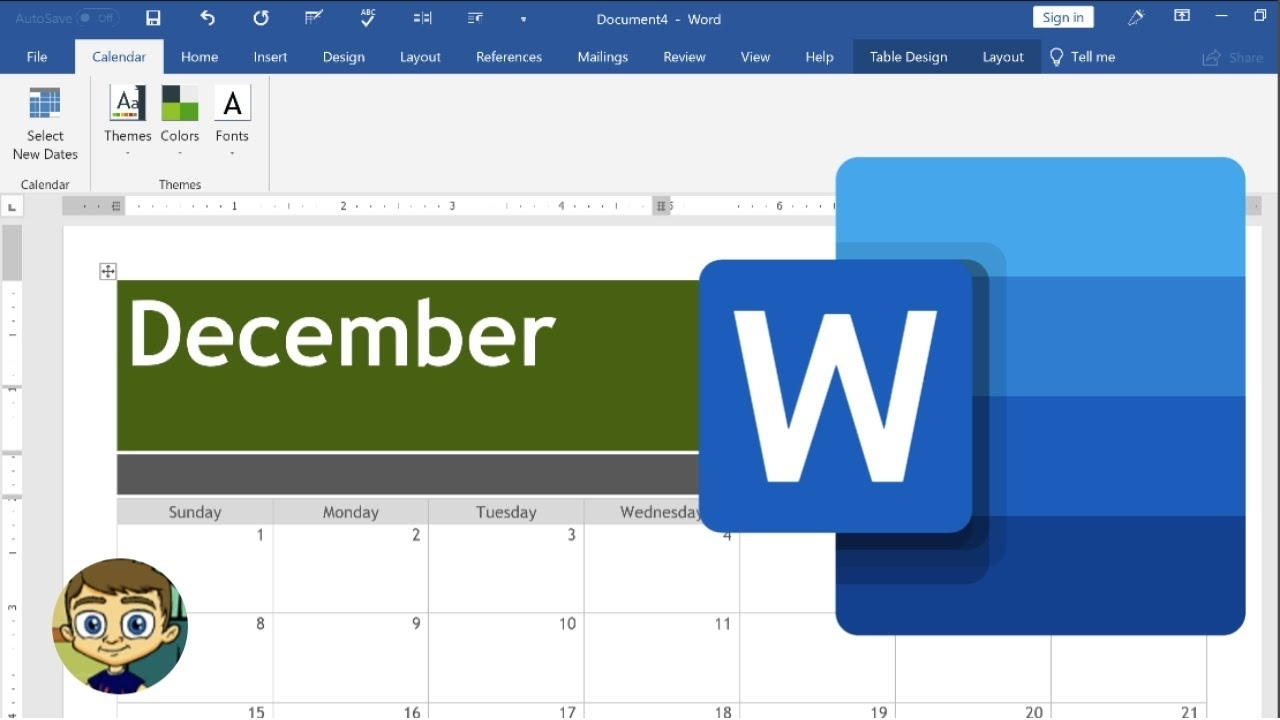 Creating A Calendar In Microsoft Word