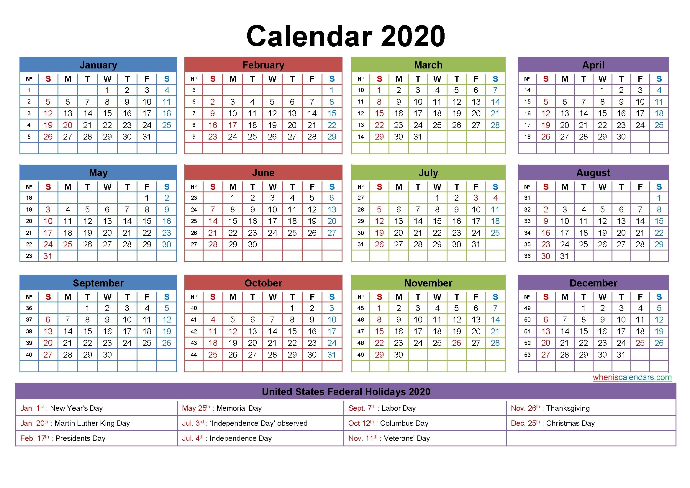 Free Editable Calendar Template 2020 – Template No.ep20Y24