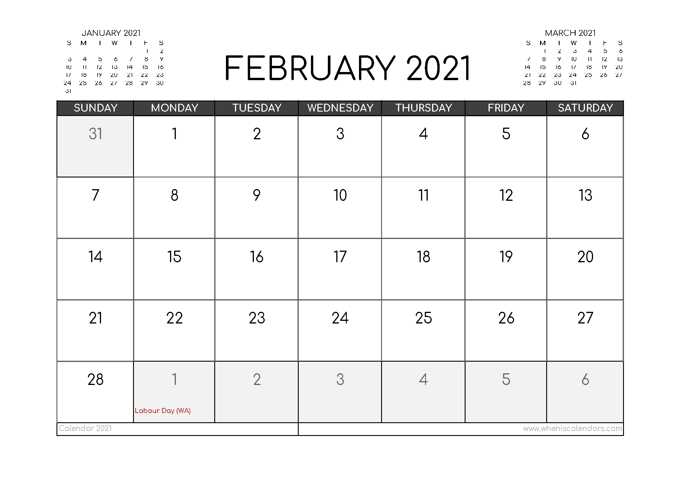Free February 2021 Calendar Australia Printable – Free