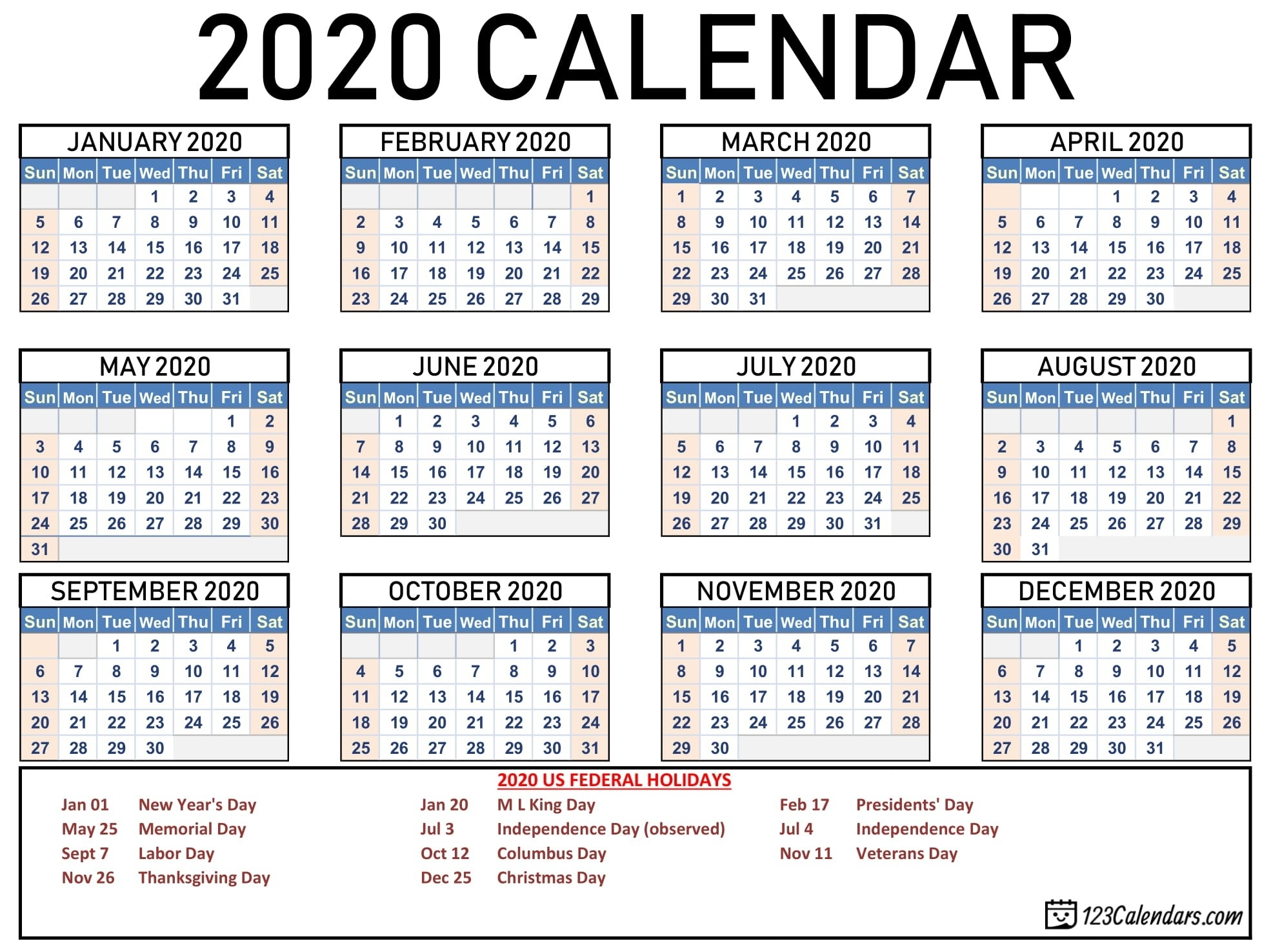 Free Printable 2020 Calendars | Free Printable Calendar Monthly