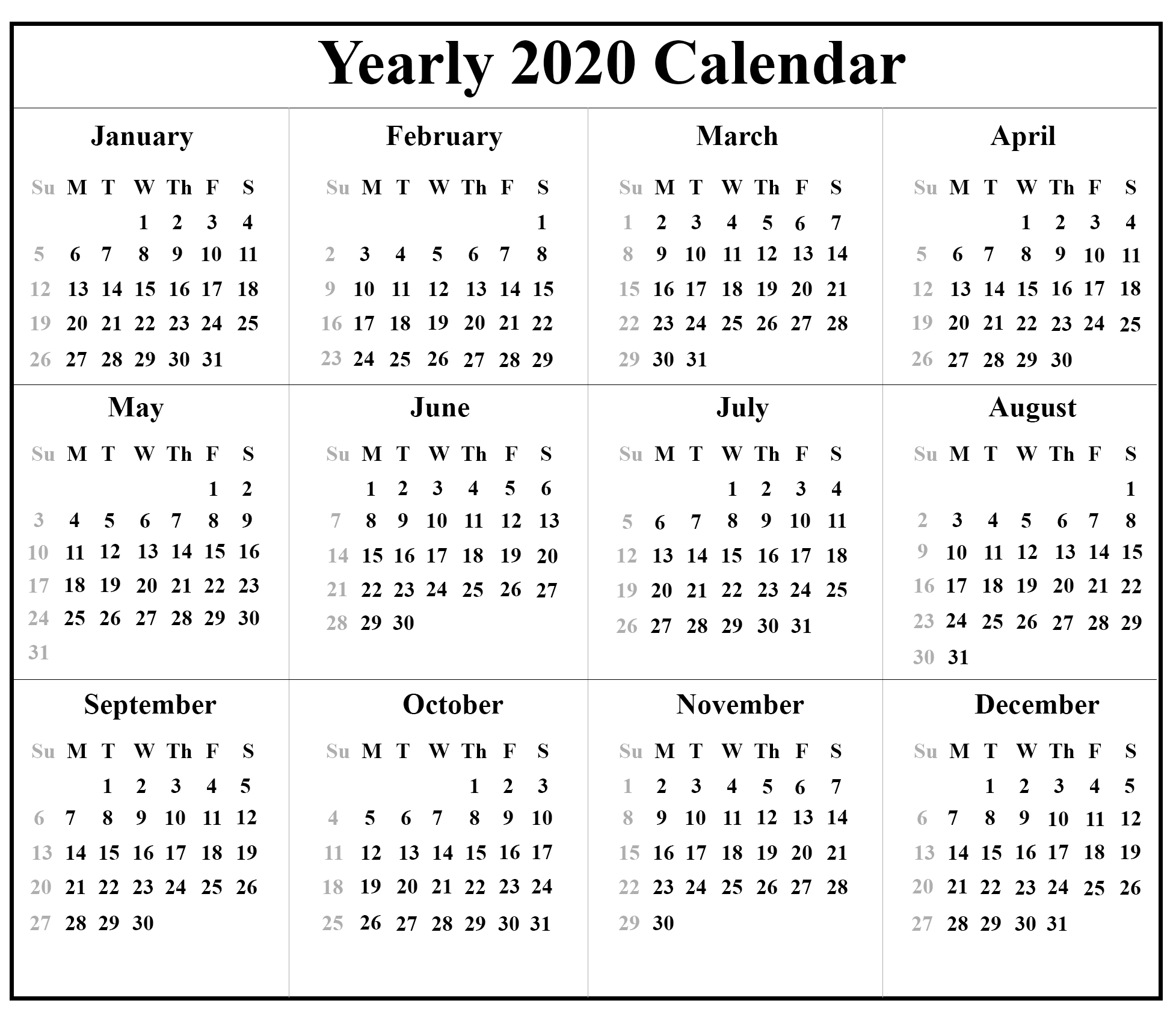Free Printable Blank Australia Calendar 2020 {Pdf, Excel & Word}