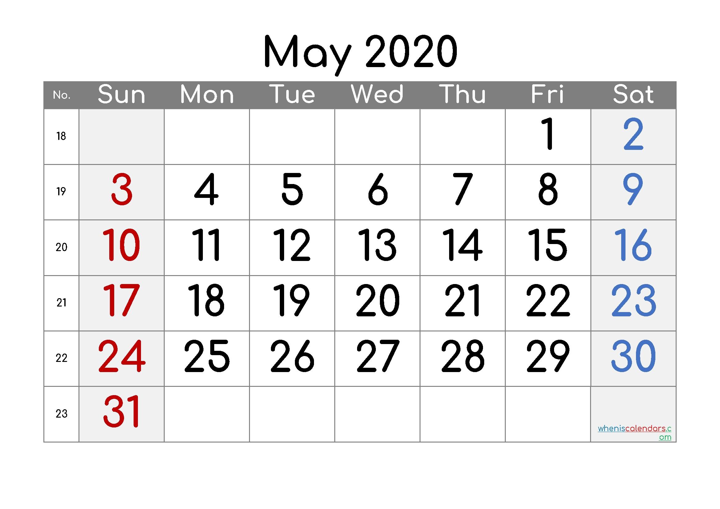 Free Printable Calendar 2020 May [Free Premium]   Free