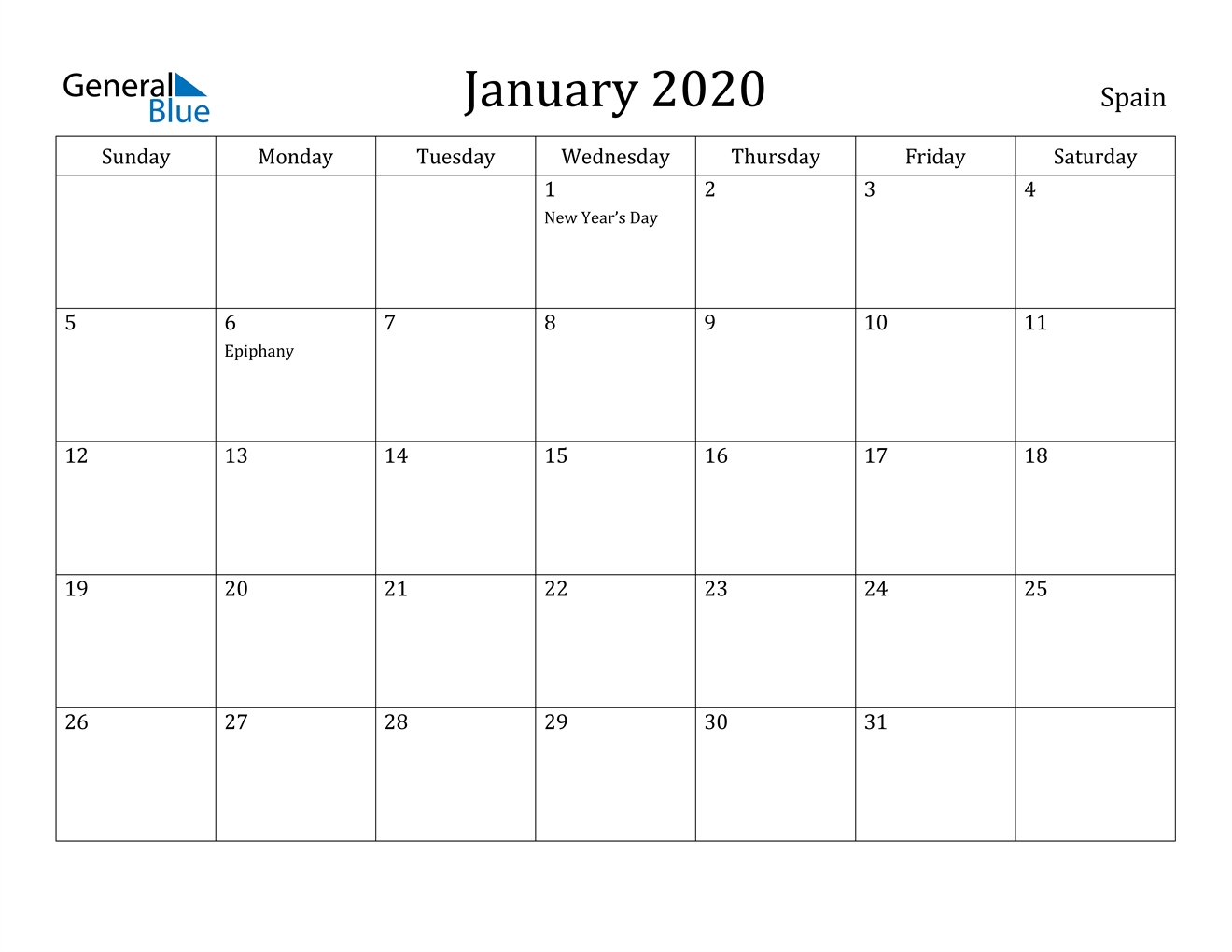 January 2020 Calendar - Spain