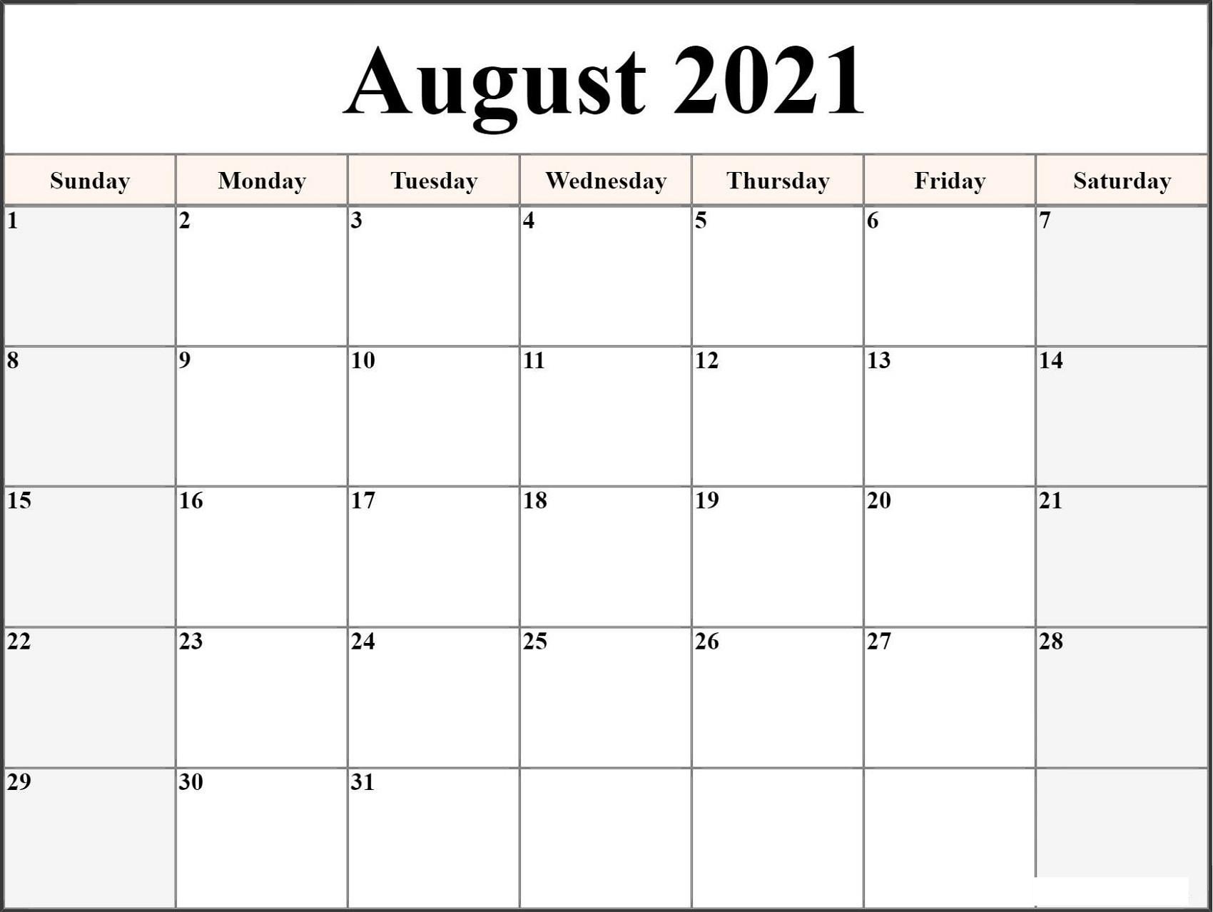 Microsoft Word Calendar Template 2021 Monthly | Free