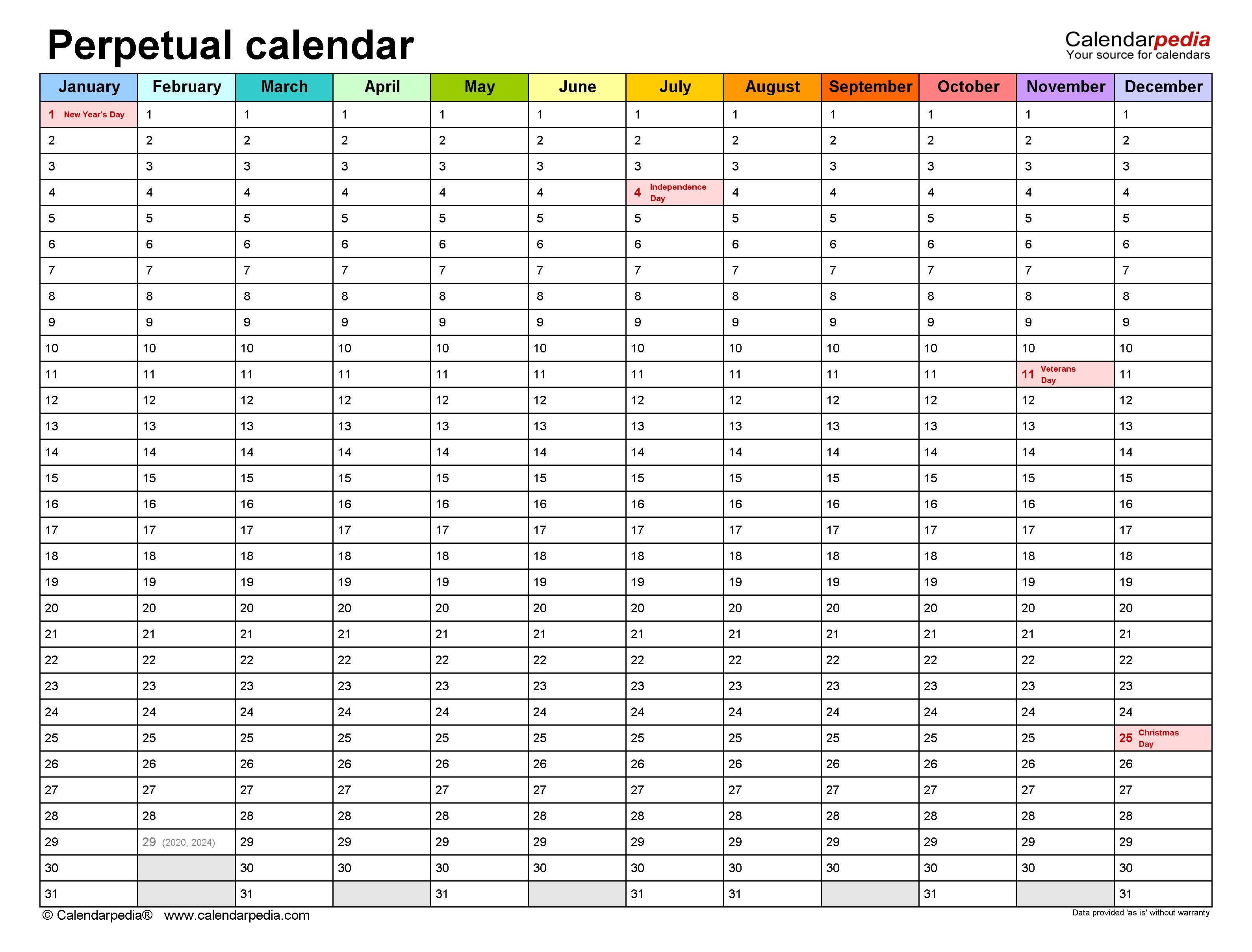 Perpetual Calendars - Free Printable Pdf Templates