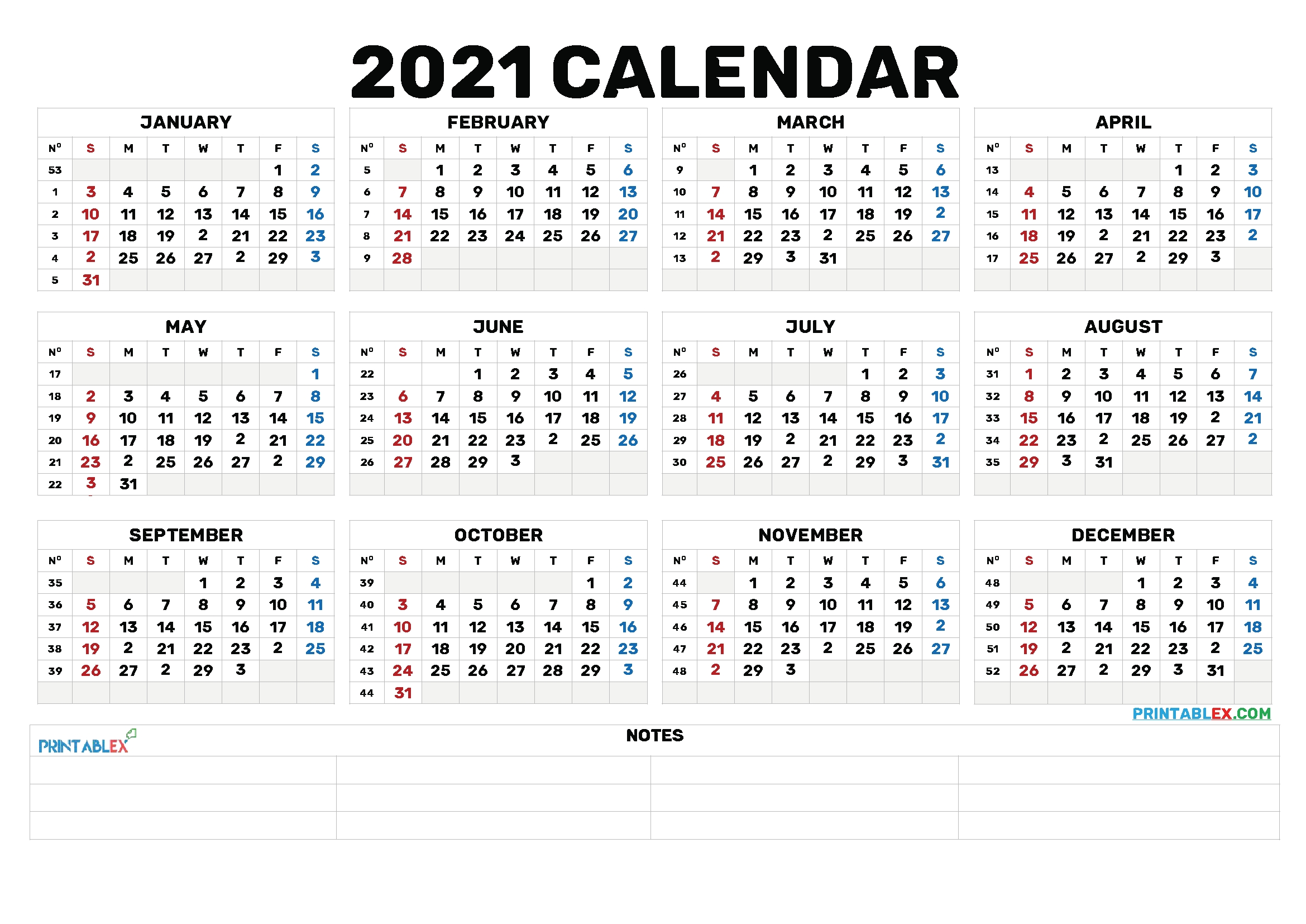 Printable 2021 Calendaryear – 6 Templates – Free