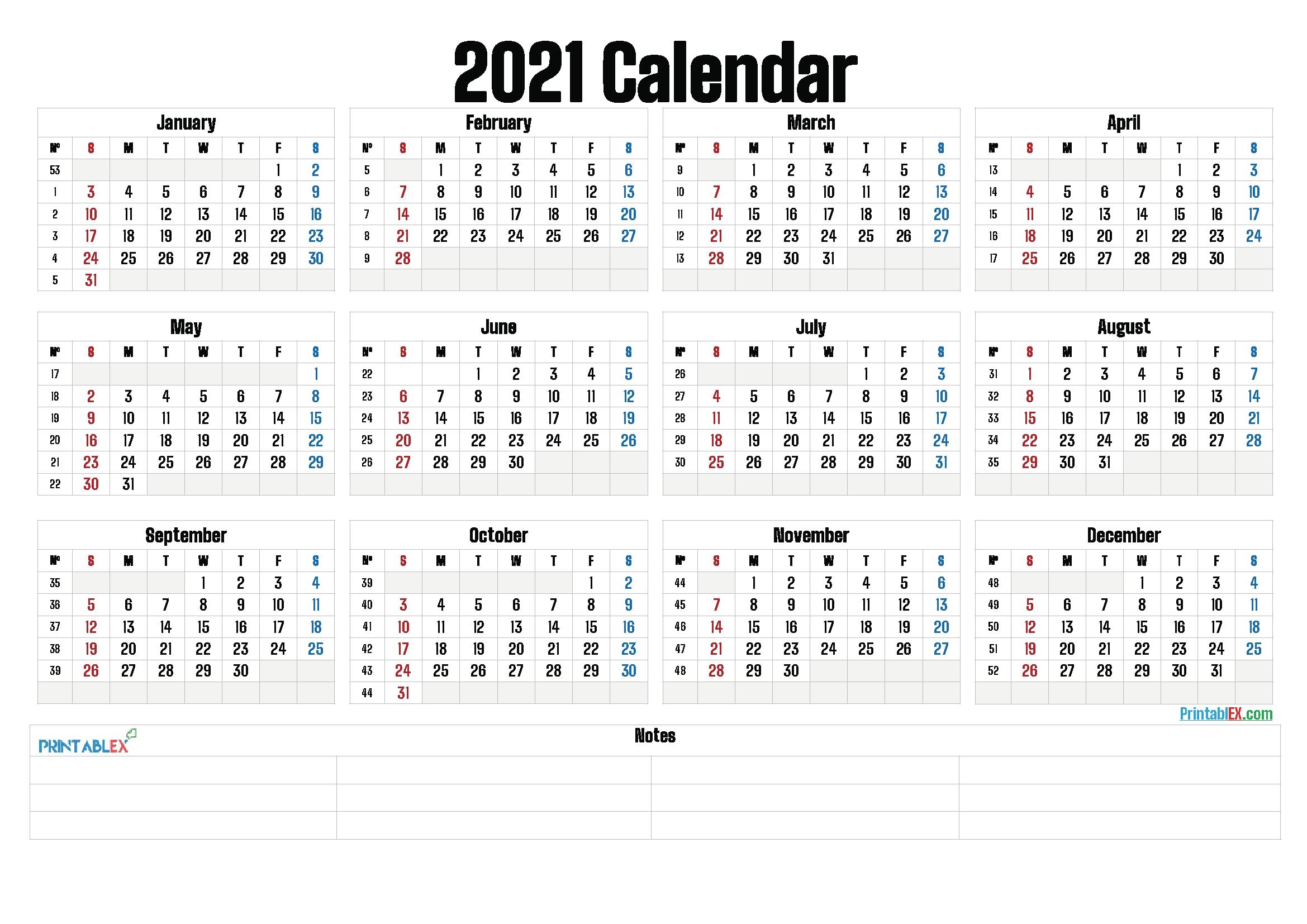 Year Calendar With Weeks | Ten Free Printable Calendar ...