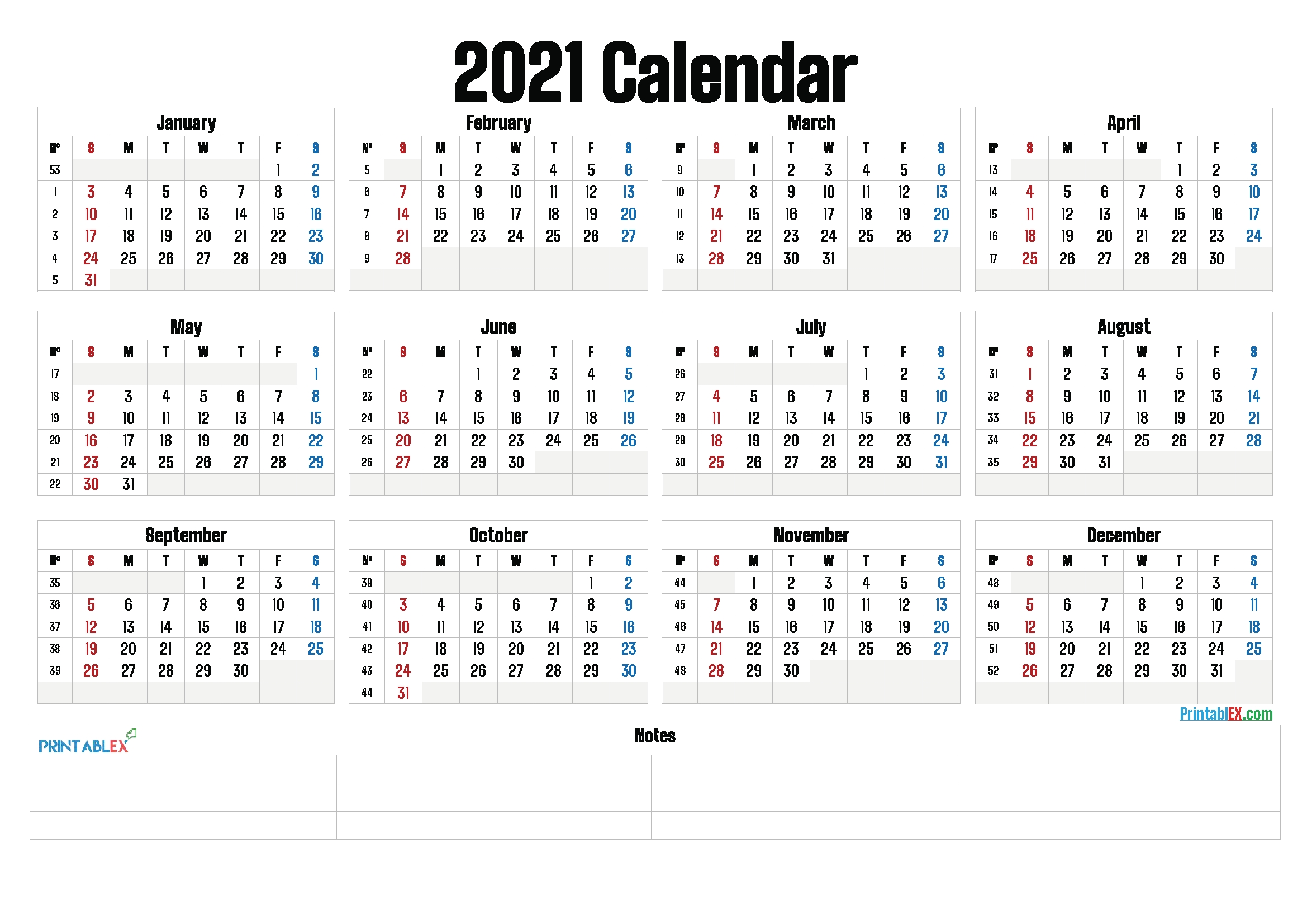 Printable 2021 Yearly Calendar With Week Numbers – Free