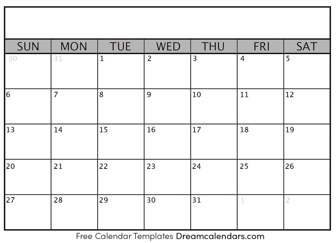 Printable Blank Calendar 2021 | Dream Calendars