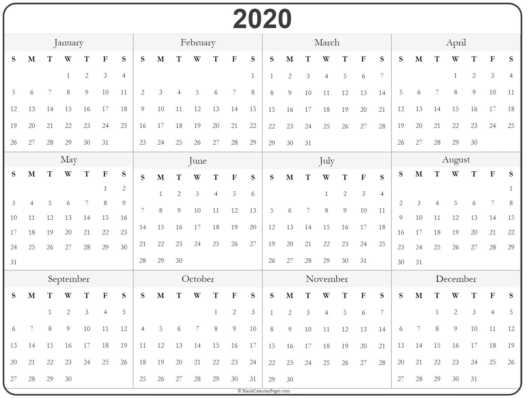 Rest Of Year Calendar In 2020 | Printable Yearly Calendar
