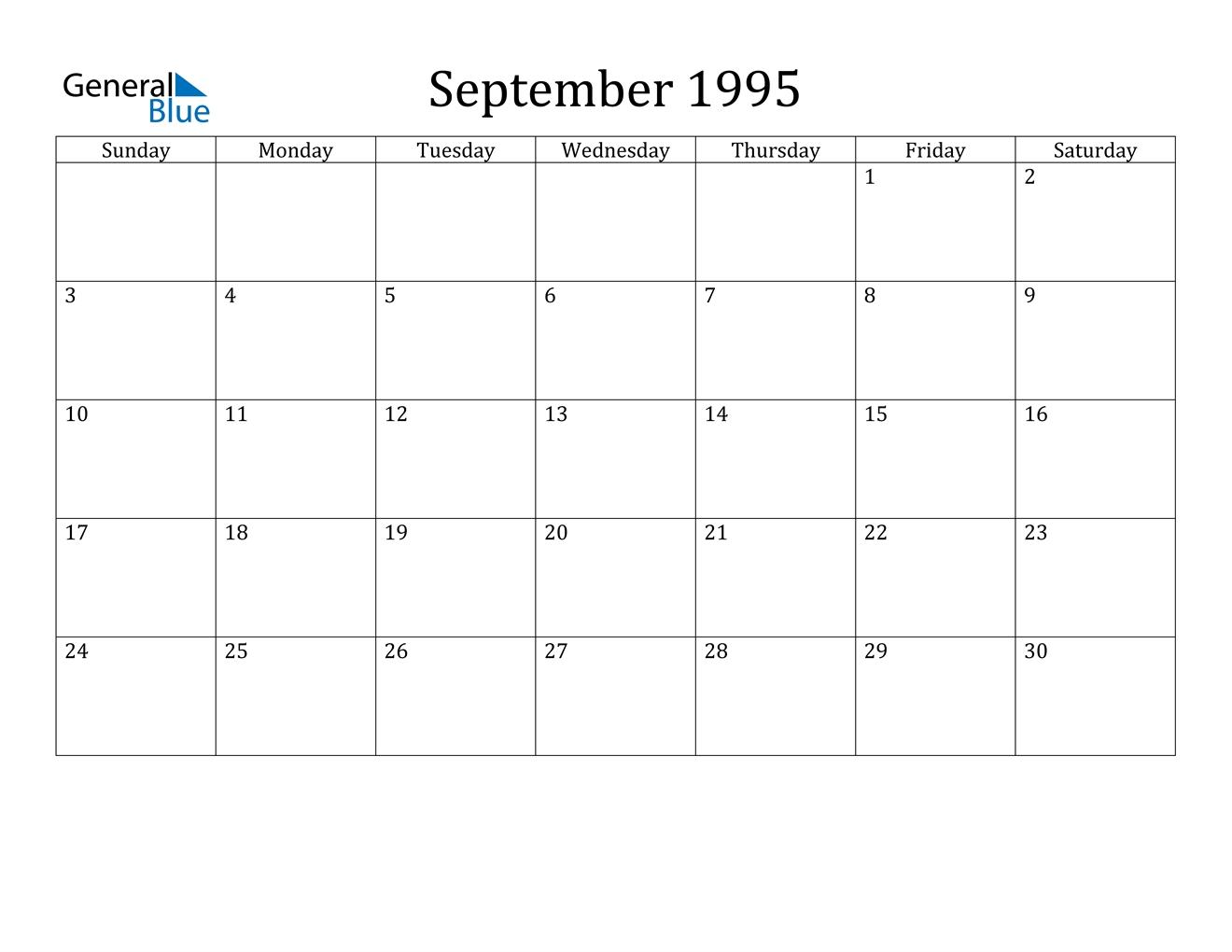 September 1995 Calendar - Pdf Word Excel
