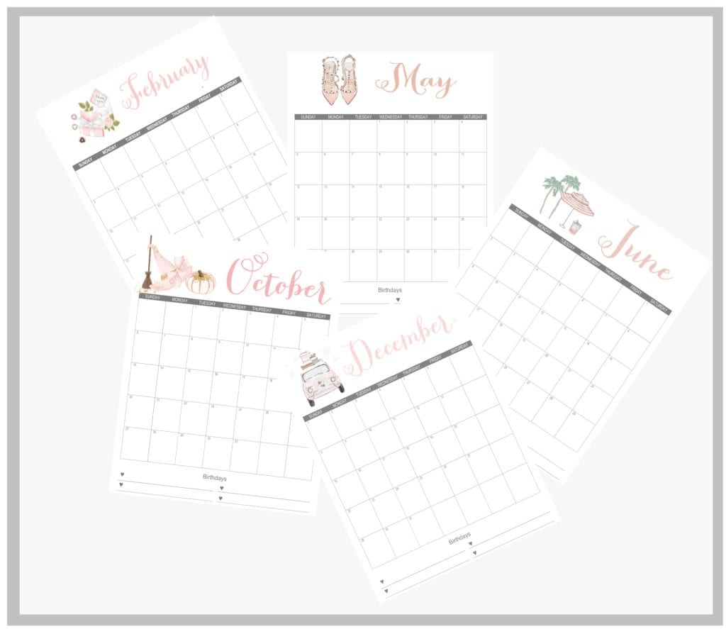 Stylish 2019 Printable Monthly Calendars - Free - Summer Adams