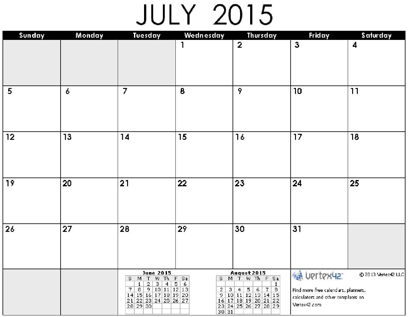 Time And Date July 2015 Calendar Printable | Calendar