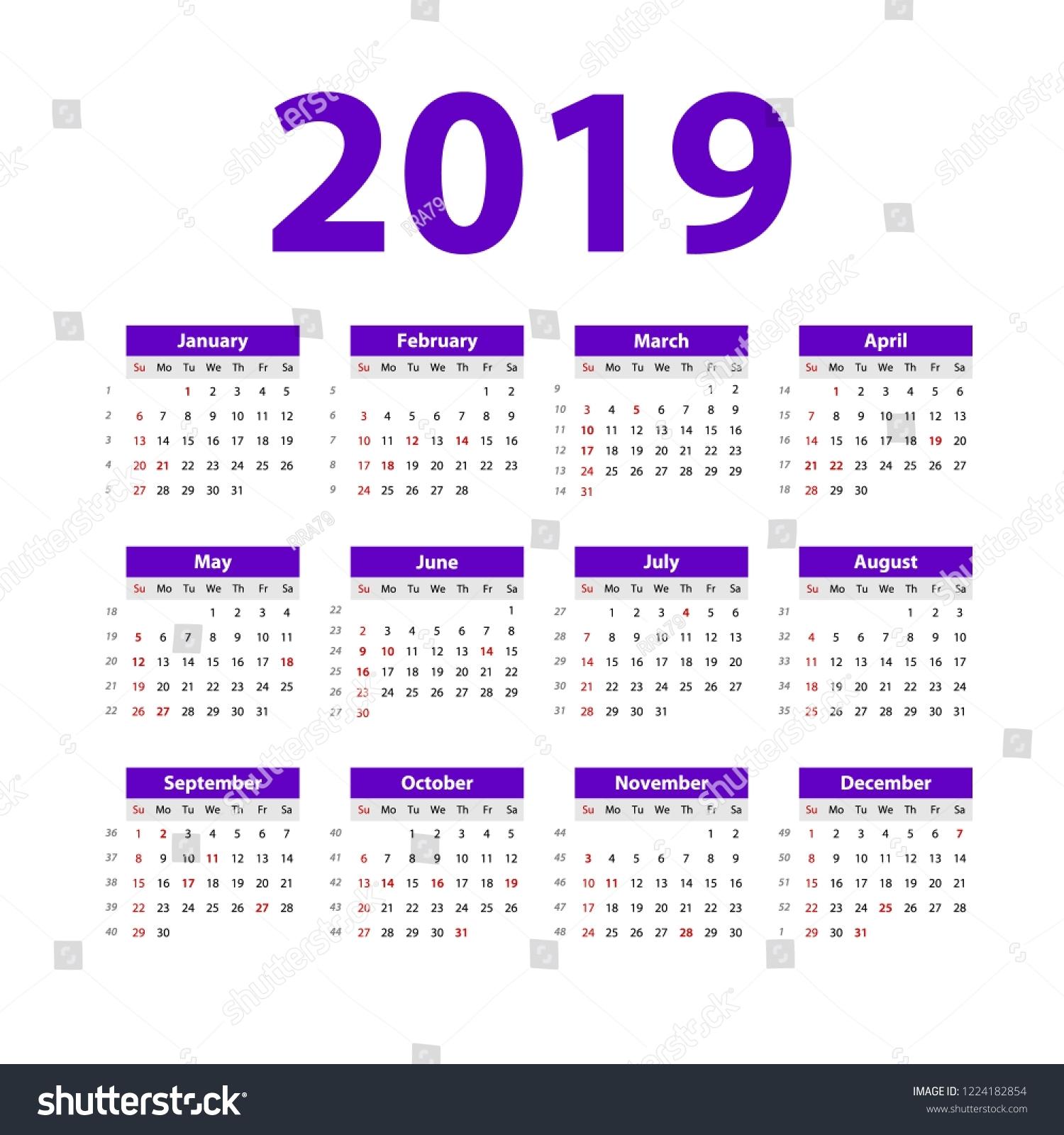 Vector Calendar 2019 Violet Week Starts Stock Vector