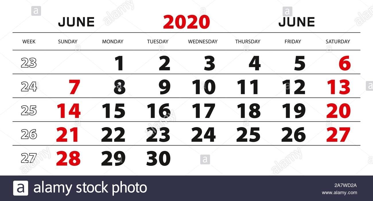 Wall Calendar 2020 For June, Week Start From Sunday. Block