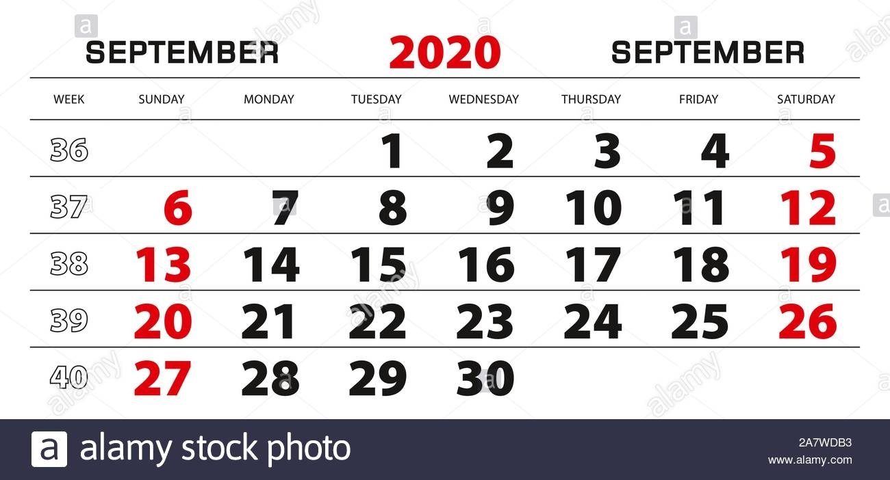 Wall Calendar 2020 For September, Week Start From Sunday