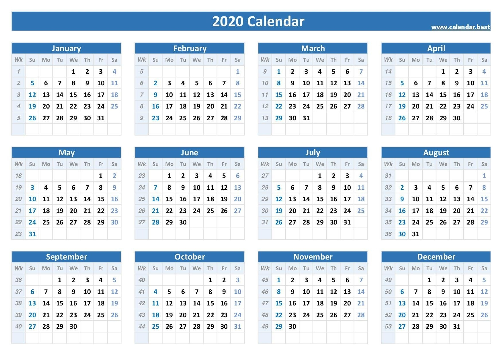 Week Numbers For 2020 : List And Calendar -Calendar.best