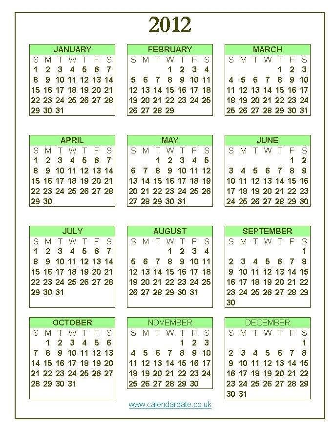 2012 Calendar 2