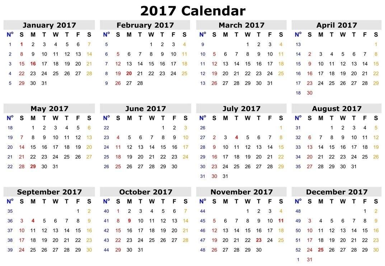 2017 Calendar Landscape Template Free | 2017 Printable Calendar, Printable Calendar, Calendar 2017
