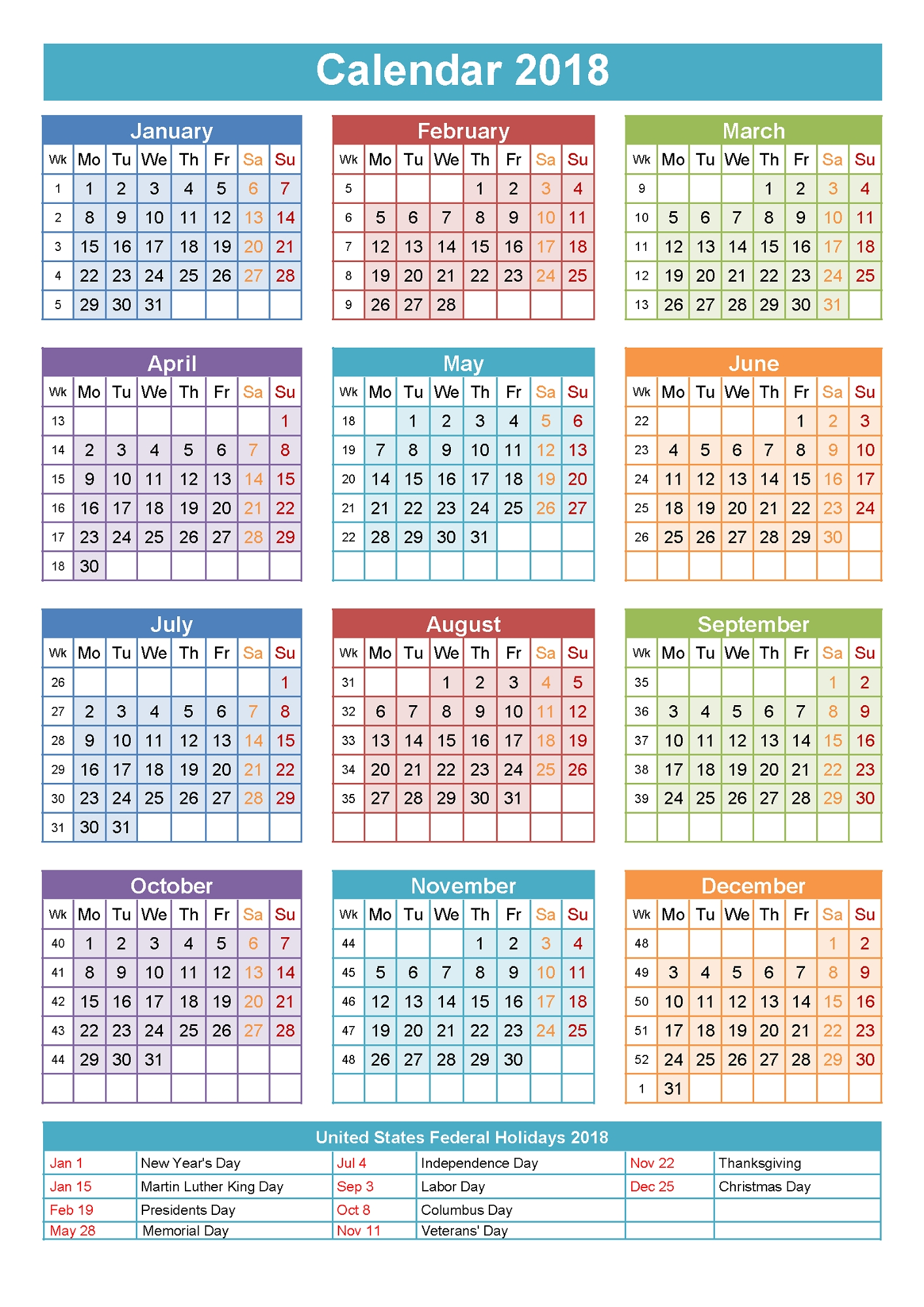 2018 Yearly Calendars With Holidays | Activity Shelter