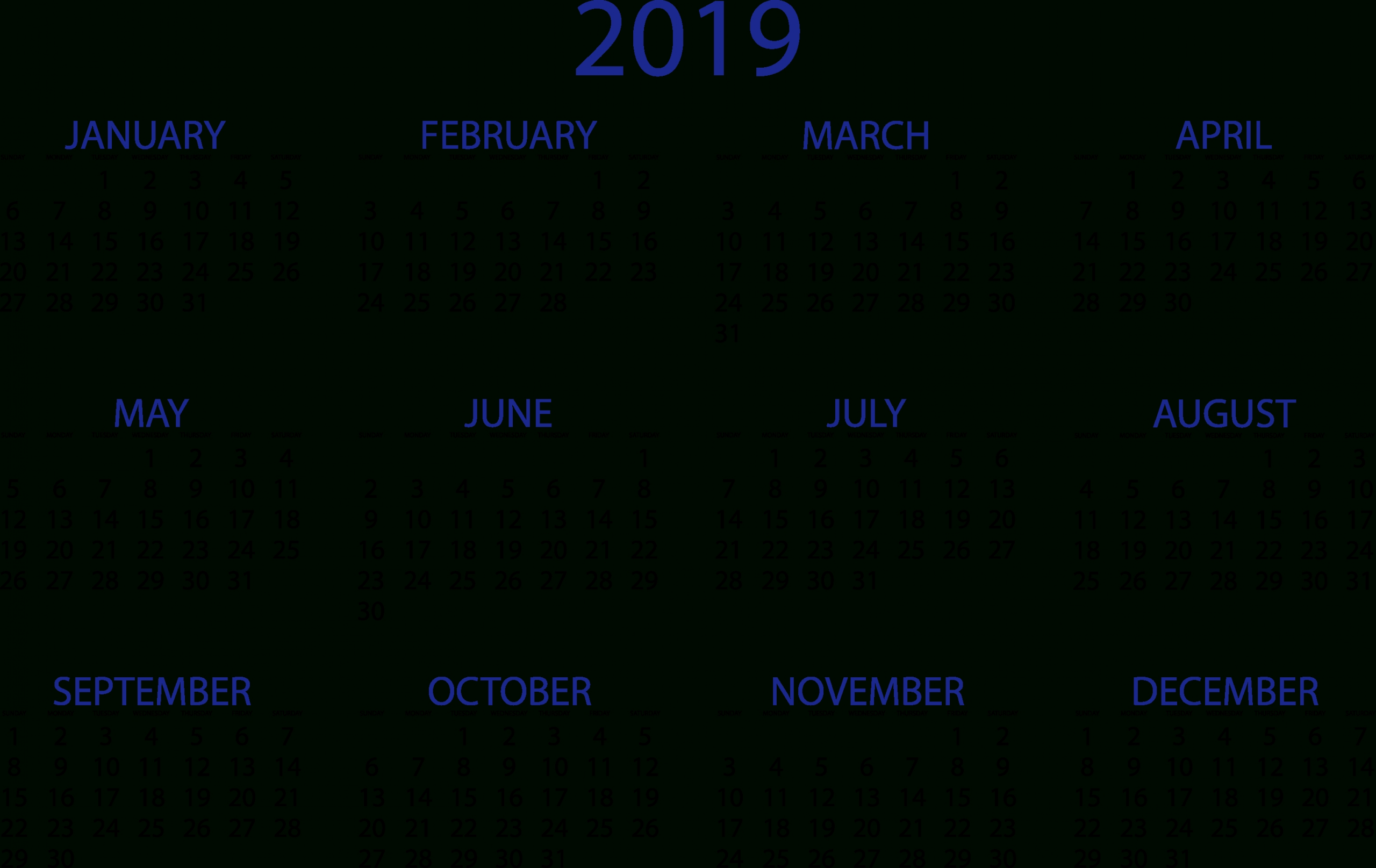 2019 Calendars Simple & Quality Templates