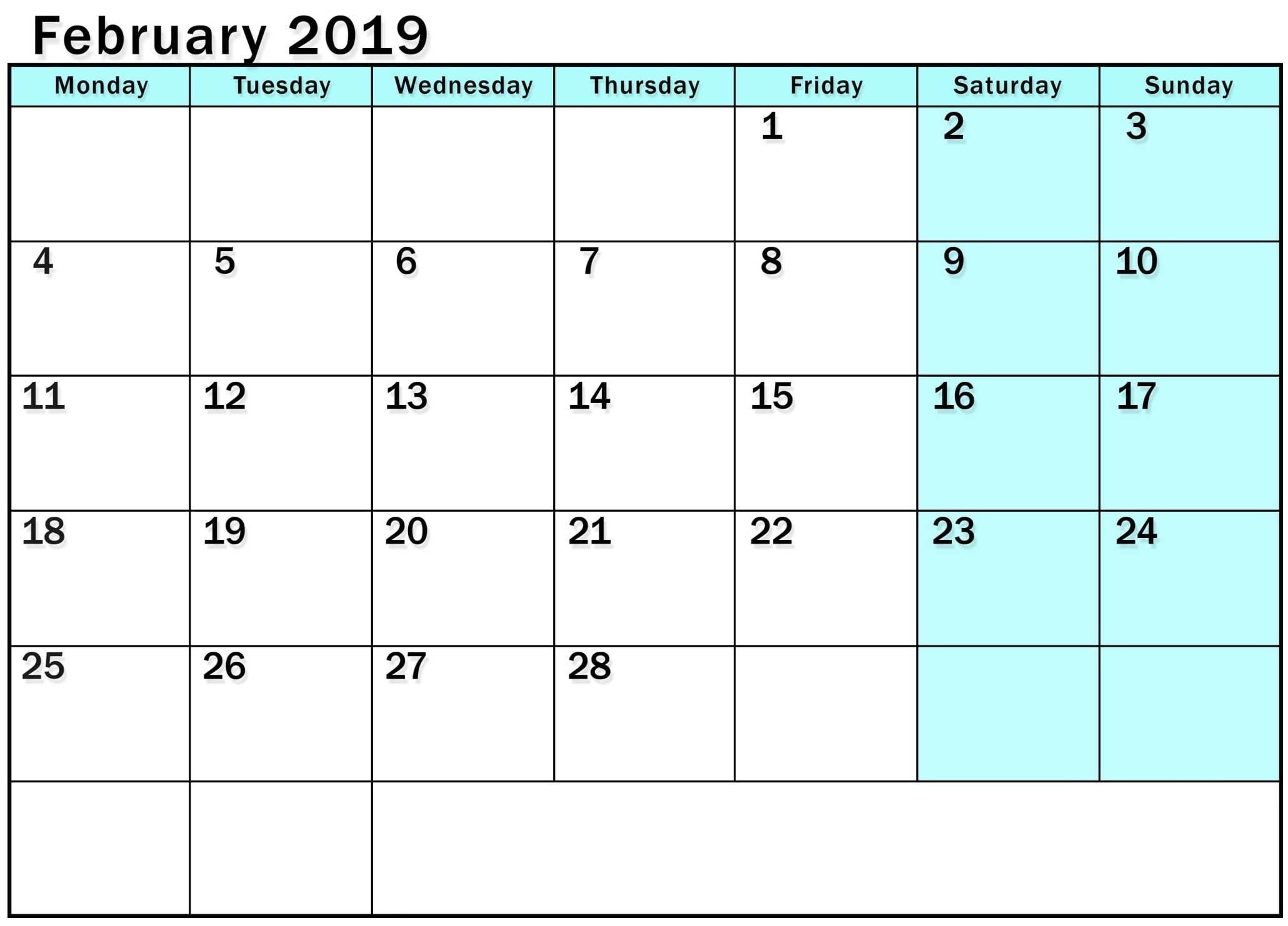 2019 Monday Through Sunday Calendar - Template Calendar Design