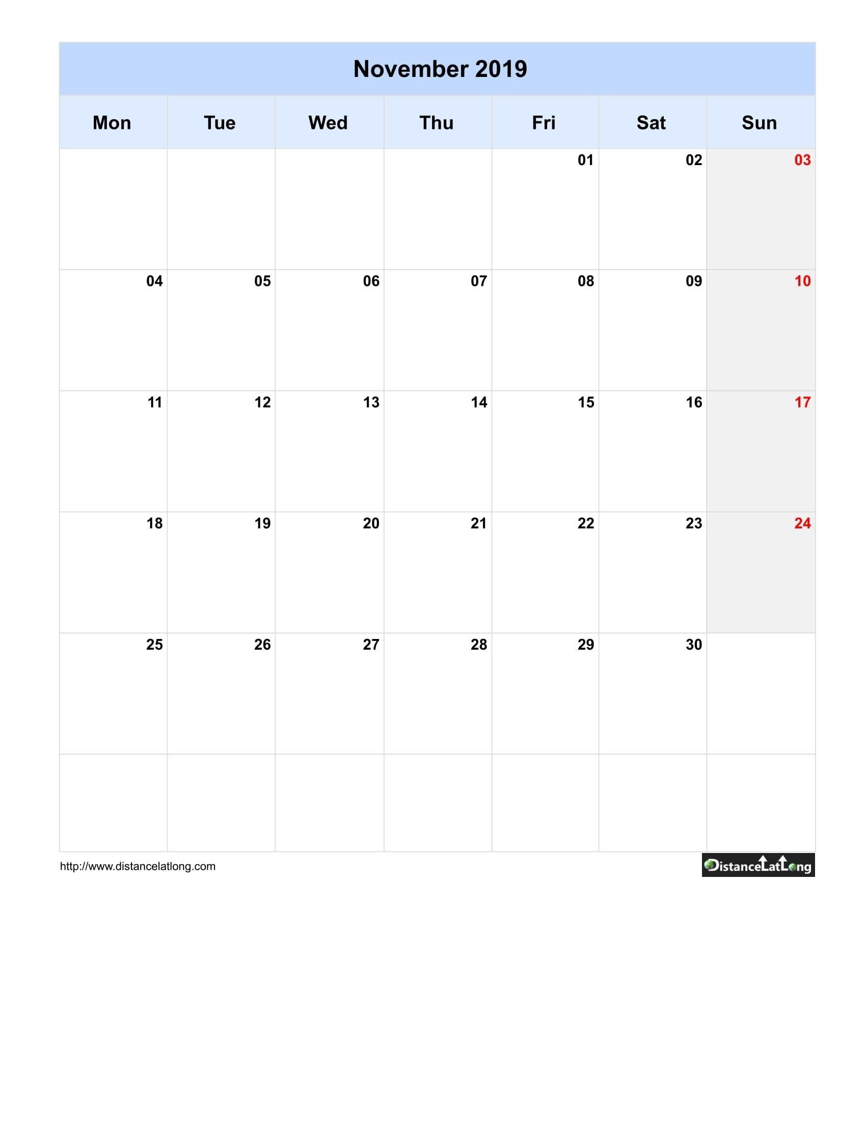 2019 Monthly Blank Calendar Portrait Orientation Free Template (November 2019) Monday To Sunday