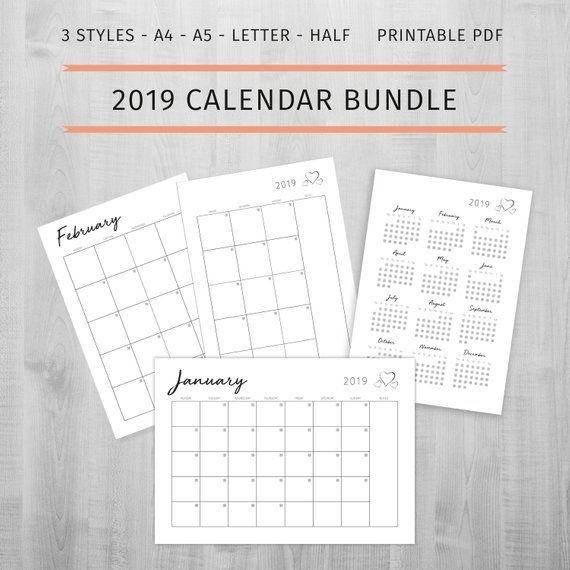 2019 Printable Calendar Monday Start Calendar Sunday Start Calendar 2019 Year One Page 2019