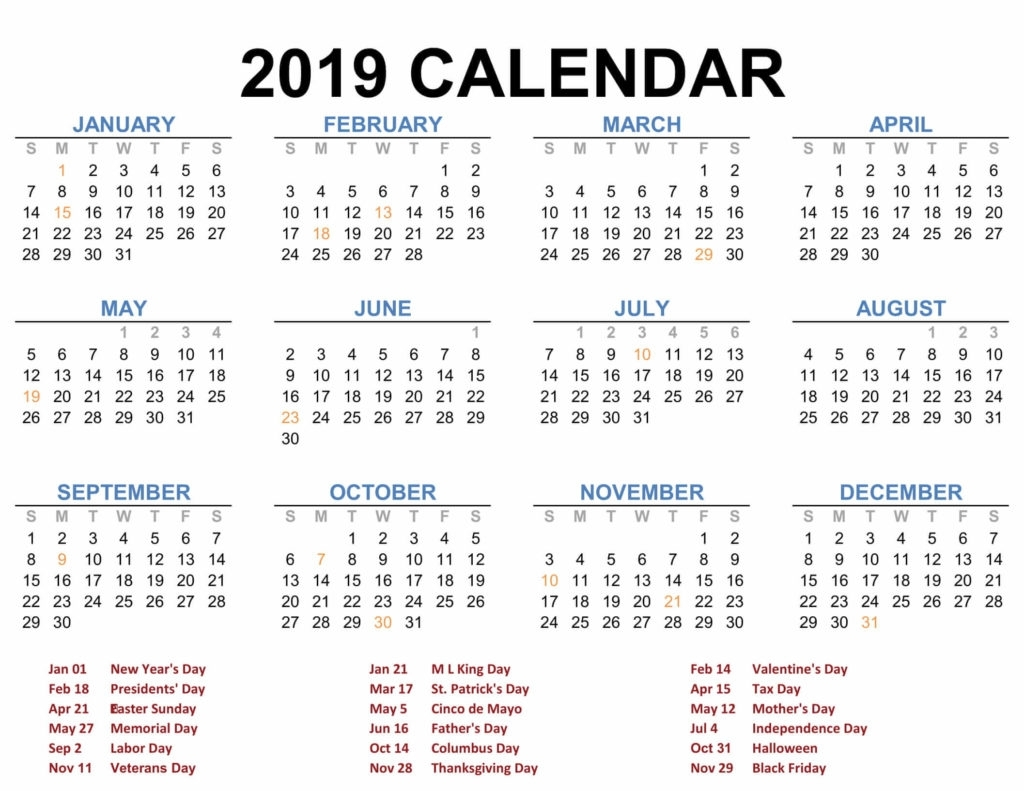 2019 Printable Calendar Templates - Pdf Excel Word - Free Calendars & Letter Templates - 2020