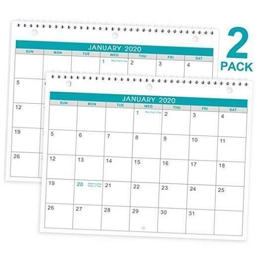 2020-2021 Calendar - 2 Pack Monthly Wall/Desk Calendar, Generous Memo Lined Page | Ebay