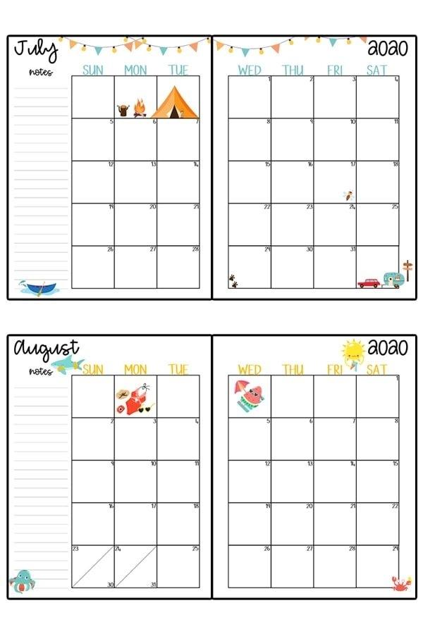 2020 Calendar Printable - Free Printable 2020 Monthly Calendar   Planner Printables Free