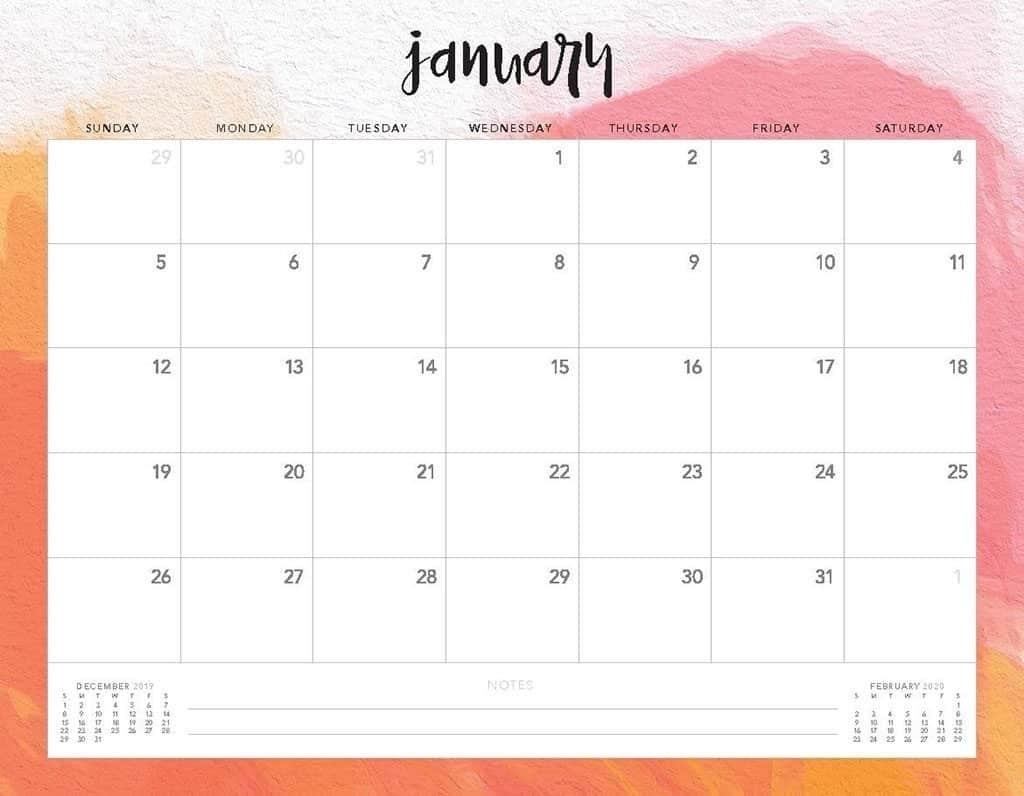 2020 Calendar Template Monday Sunday - Calendar Inspiration Design