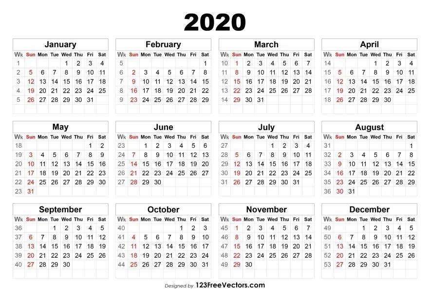 2020 Calendar With Week Numbers | Calendar With Week Numbers, Print Calendar, Calendar Printables