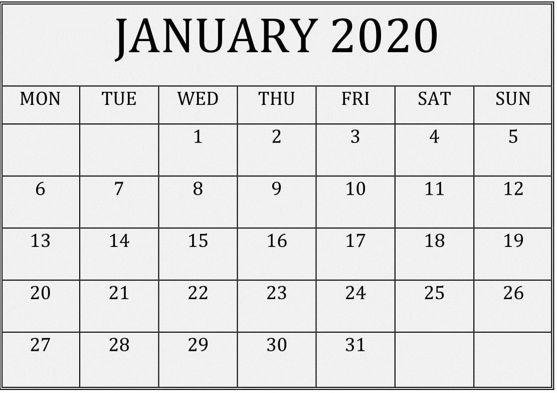 2020 Calendar You Can Edit   Month Calendar Printable