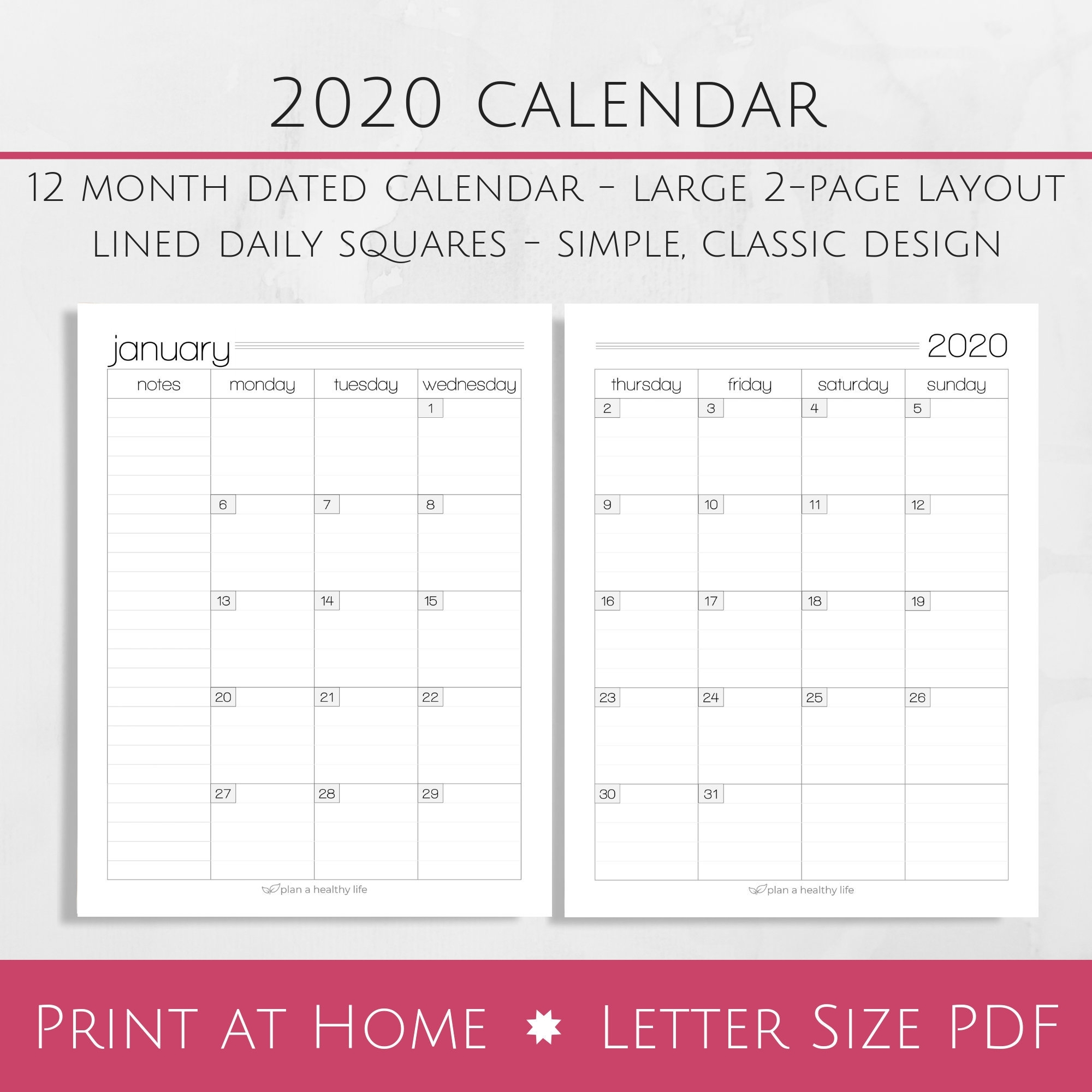 2020 Free Printable 8.5 X11 Monthly Calendars   Calendar Template Printable Monthly Yearly