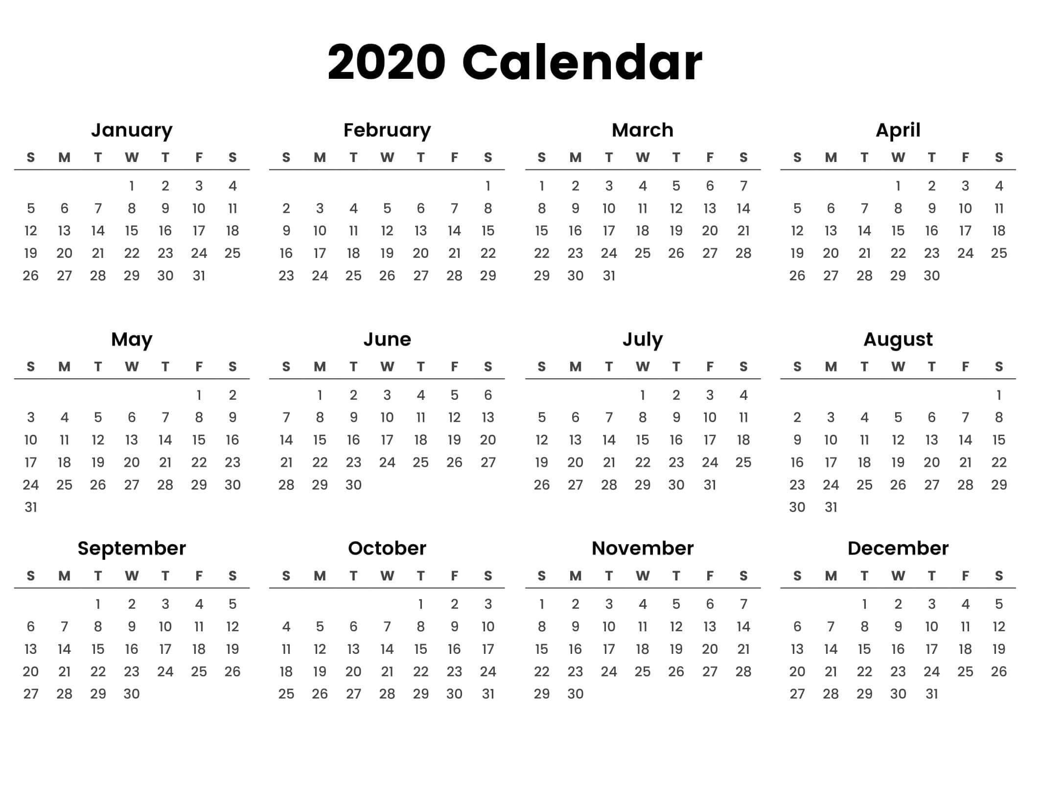 2020 Free Printable At A Glance Calendar - Calendar Inspiration Design