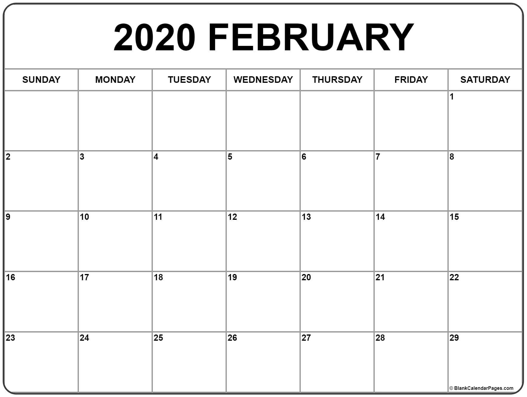 2020 Free Printable Calendar Large Numbers - Calendar Inspiration Design