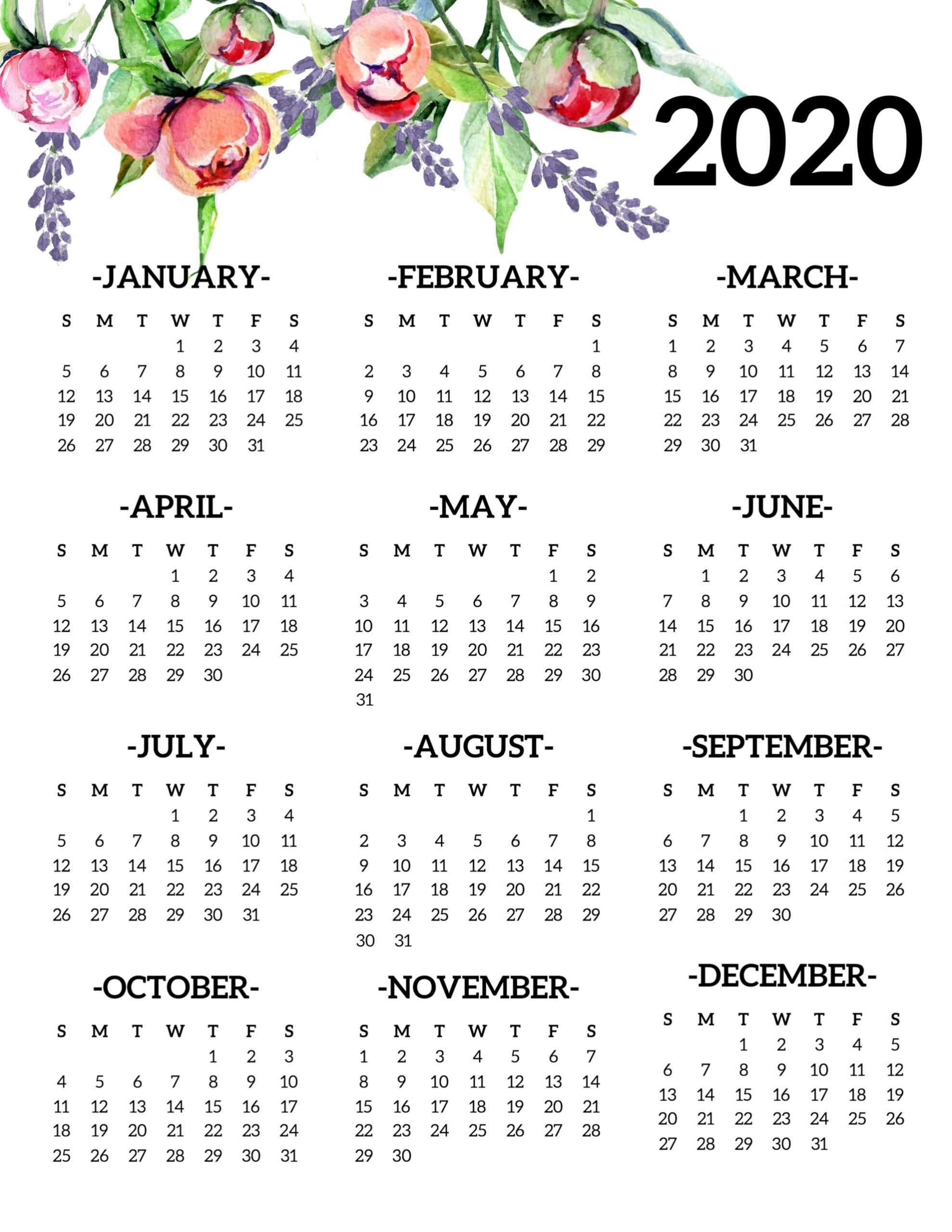 2020 Free Printable Calendars Without Downloading At A Glance - Calendar Inspiration Design