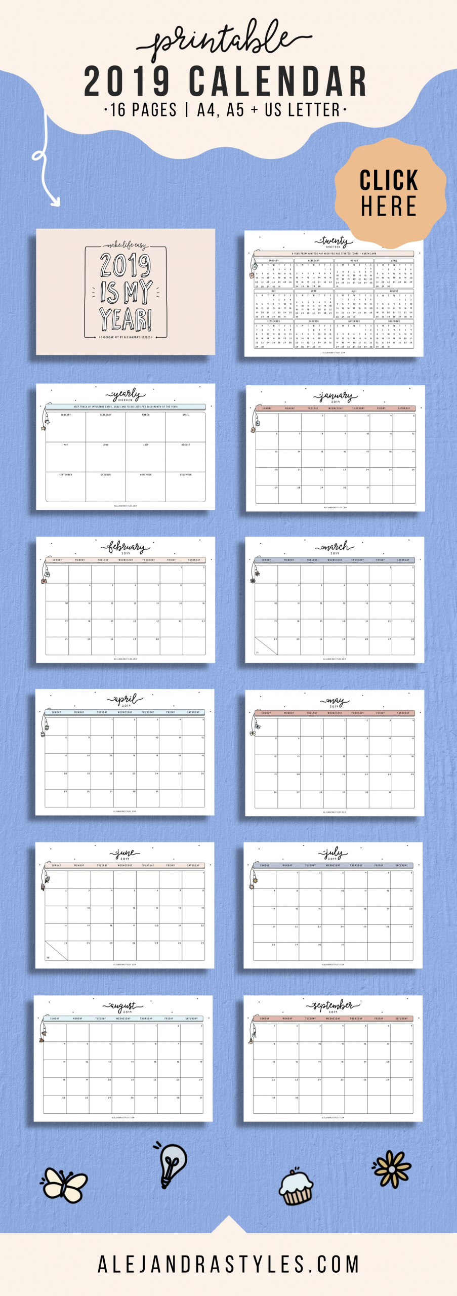 2020 Printable Calendar, Wall Calendar, Desk Calendar, 12 Monthly Calendar, Digital Calendar