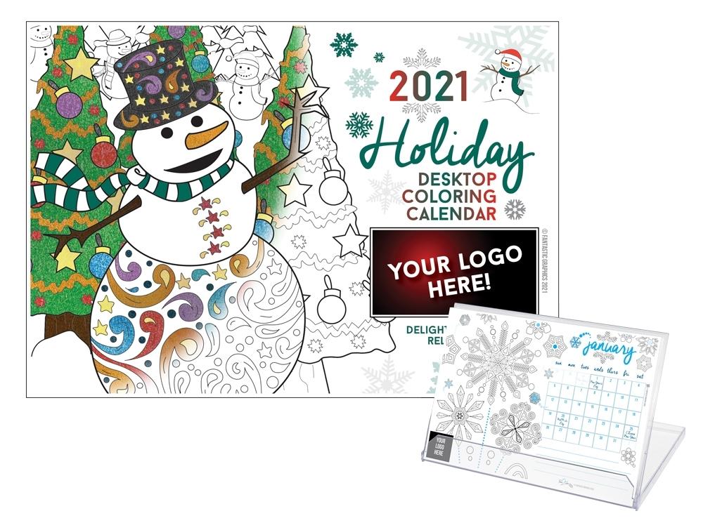 2021 Customizable Holiday Desktop Coloring Calendar | Time 2 Color