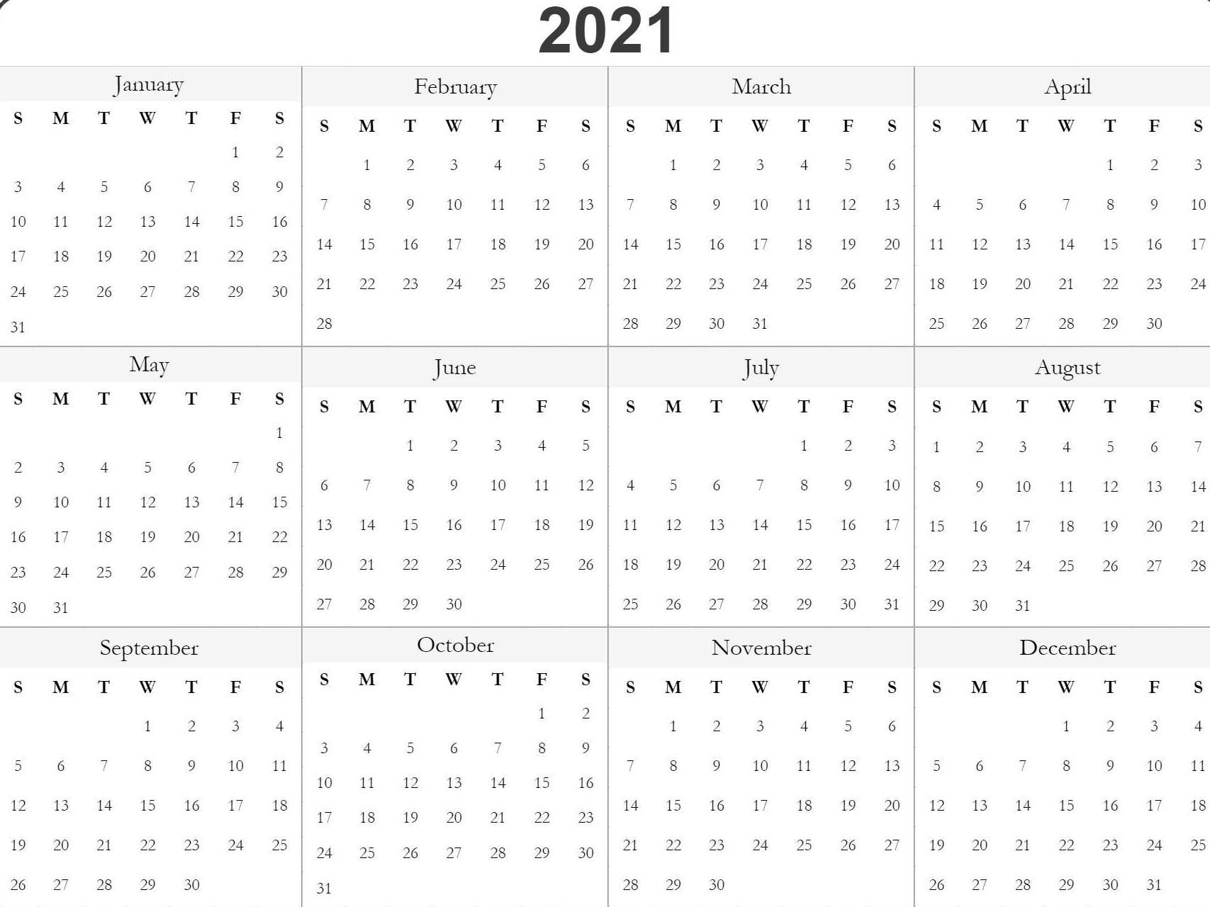 2021 Free Printable Calendars Without Downloading - Template Calendar Design