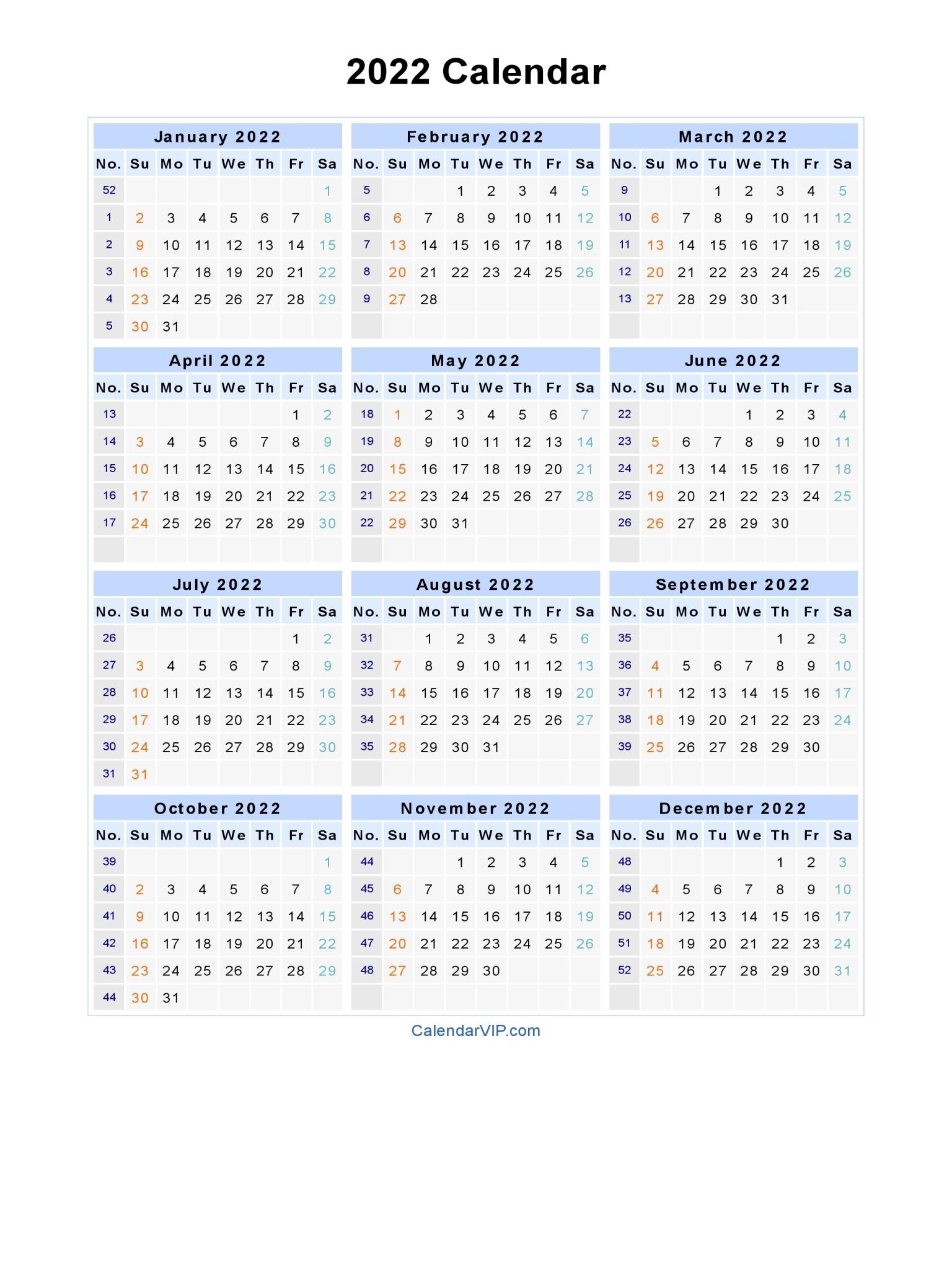 2022 Calendar - Blank Printable Calendar Template In Pdf Word Excel