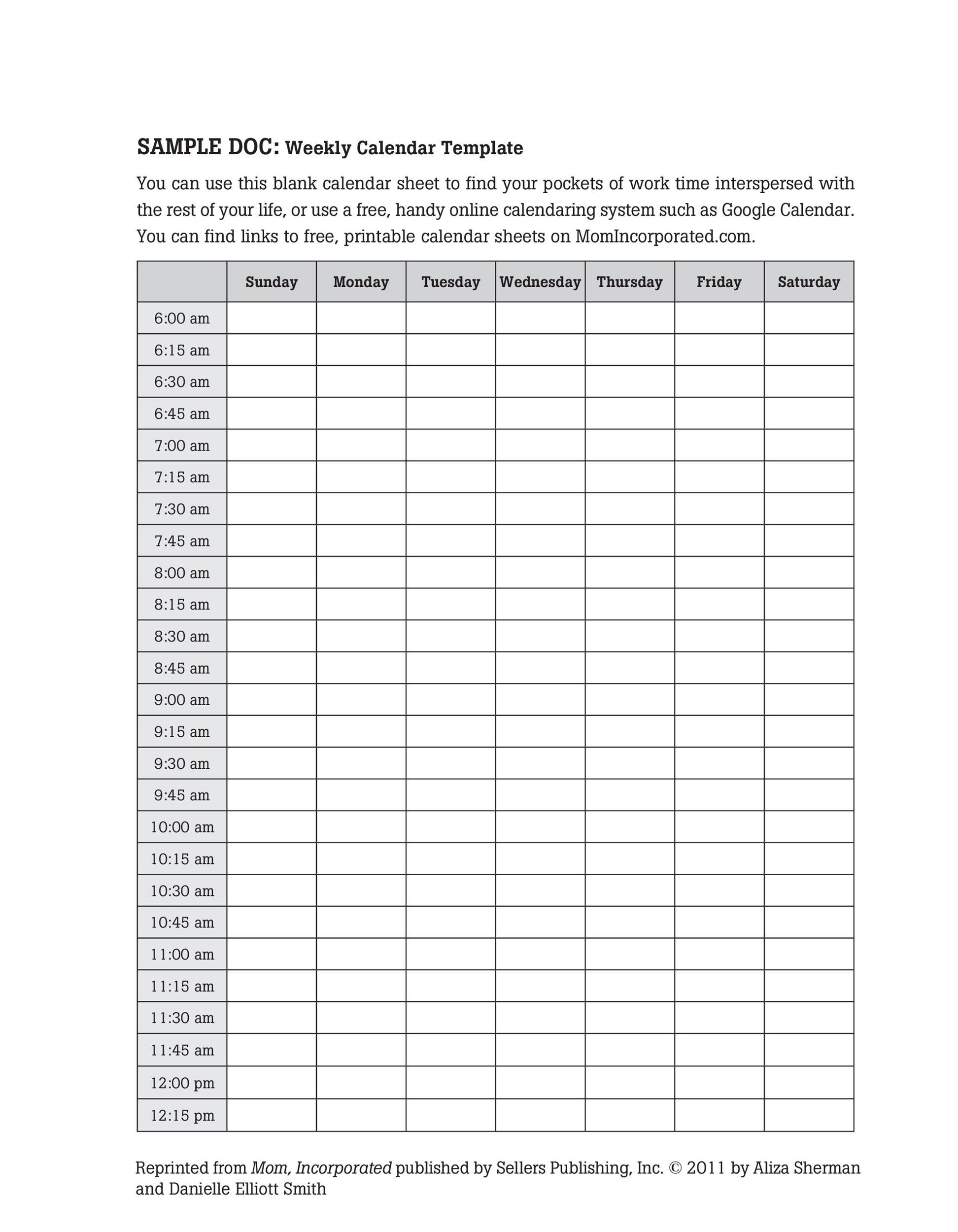 26 Blank Weekly Calendar Templates [Pdf, Excel, Word] - Template Lab