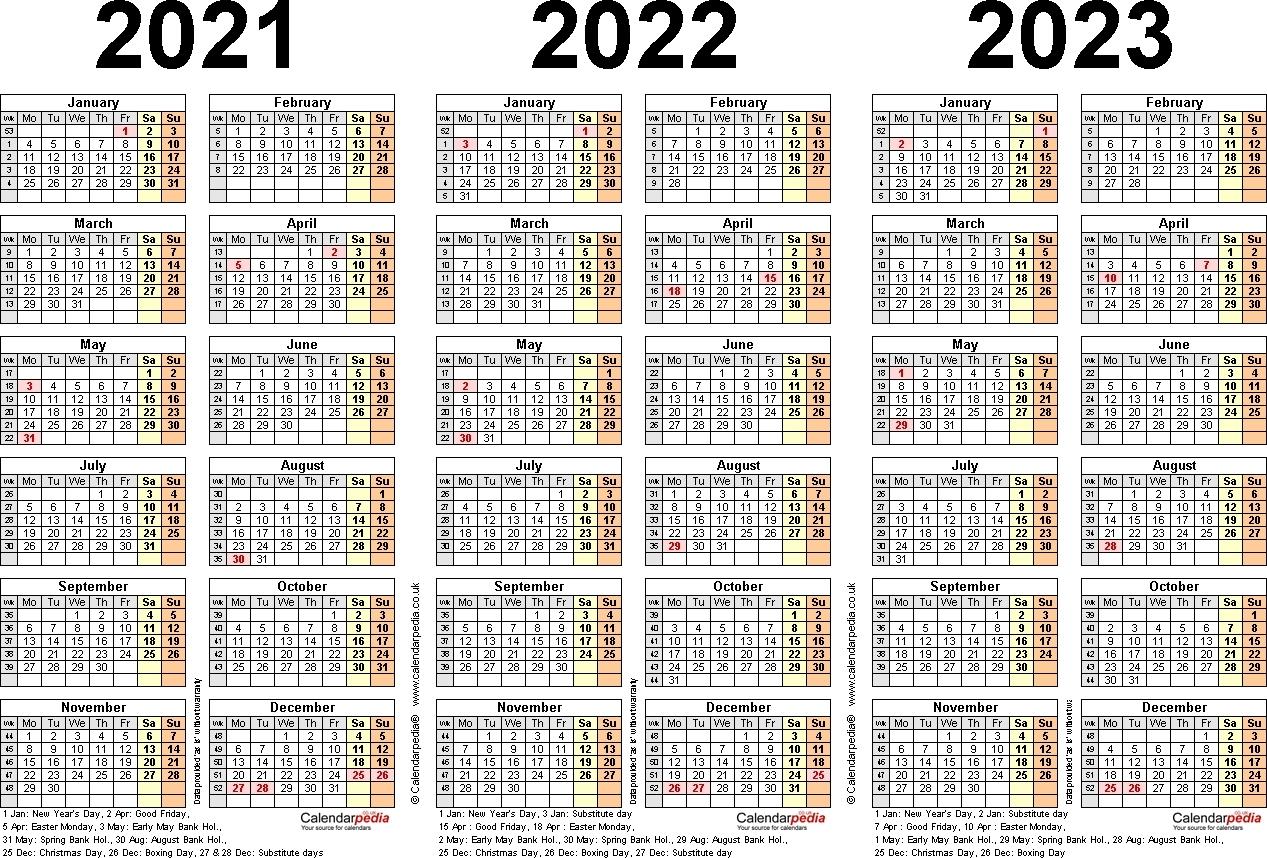 Printable 3 Year Calendars 2021 2022 2023   Ten Free ...