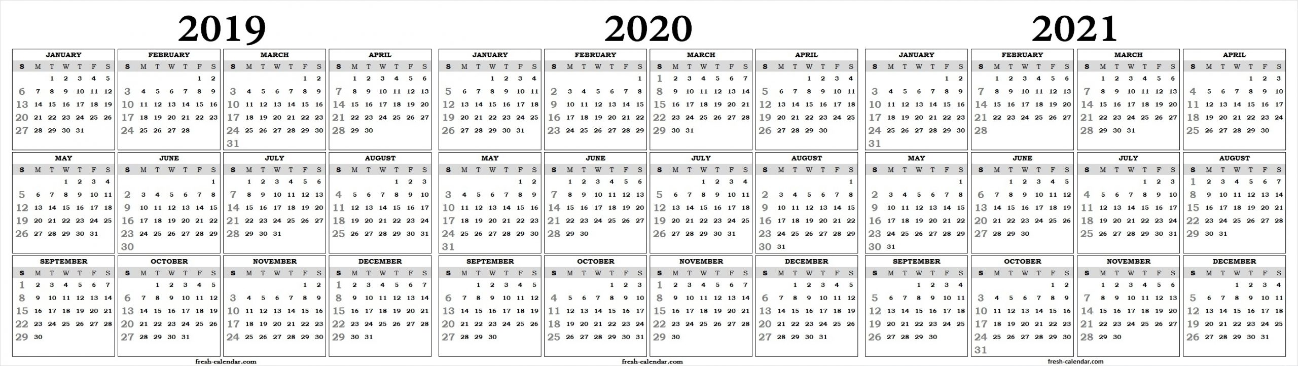 3 Year Calendar On One Page | Ten Free Printable Calendar 2019-2020